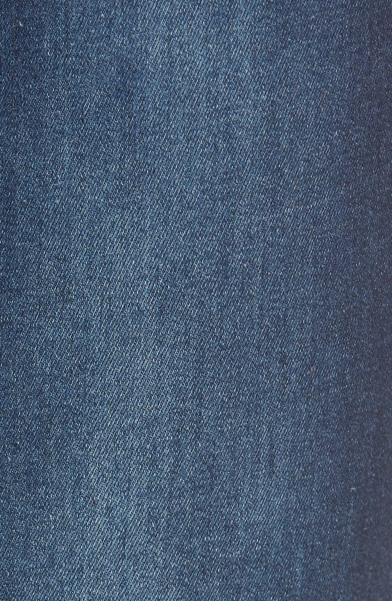 High Waist Distressed Denim Skimmer Leggings,                             Alternate thumbnail 5, color,                             401