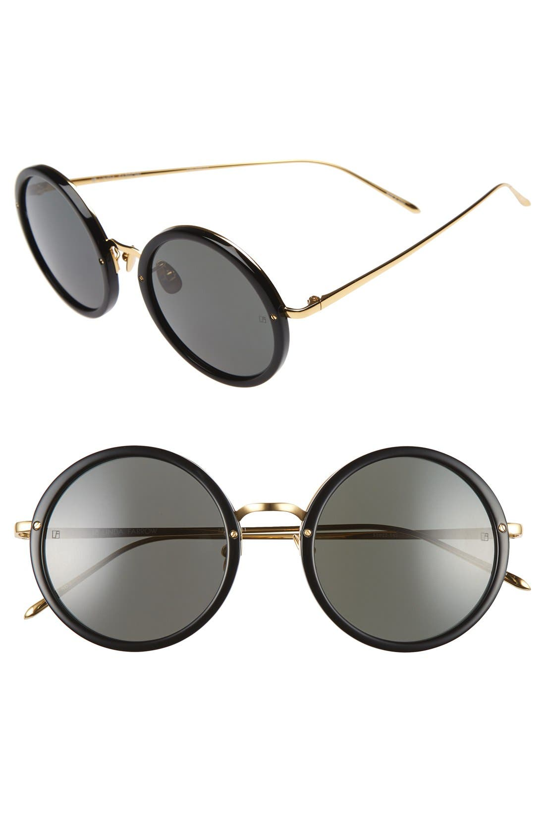 51mm Round 24 Karat Gold Trim Sunglasses,                             Main thumbnail 1, color,