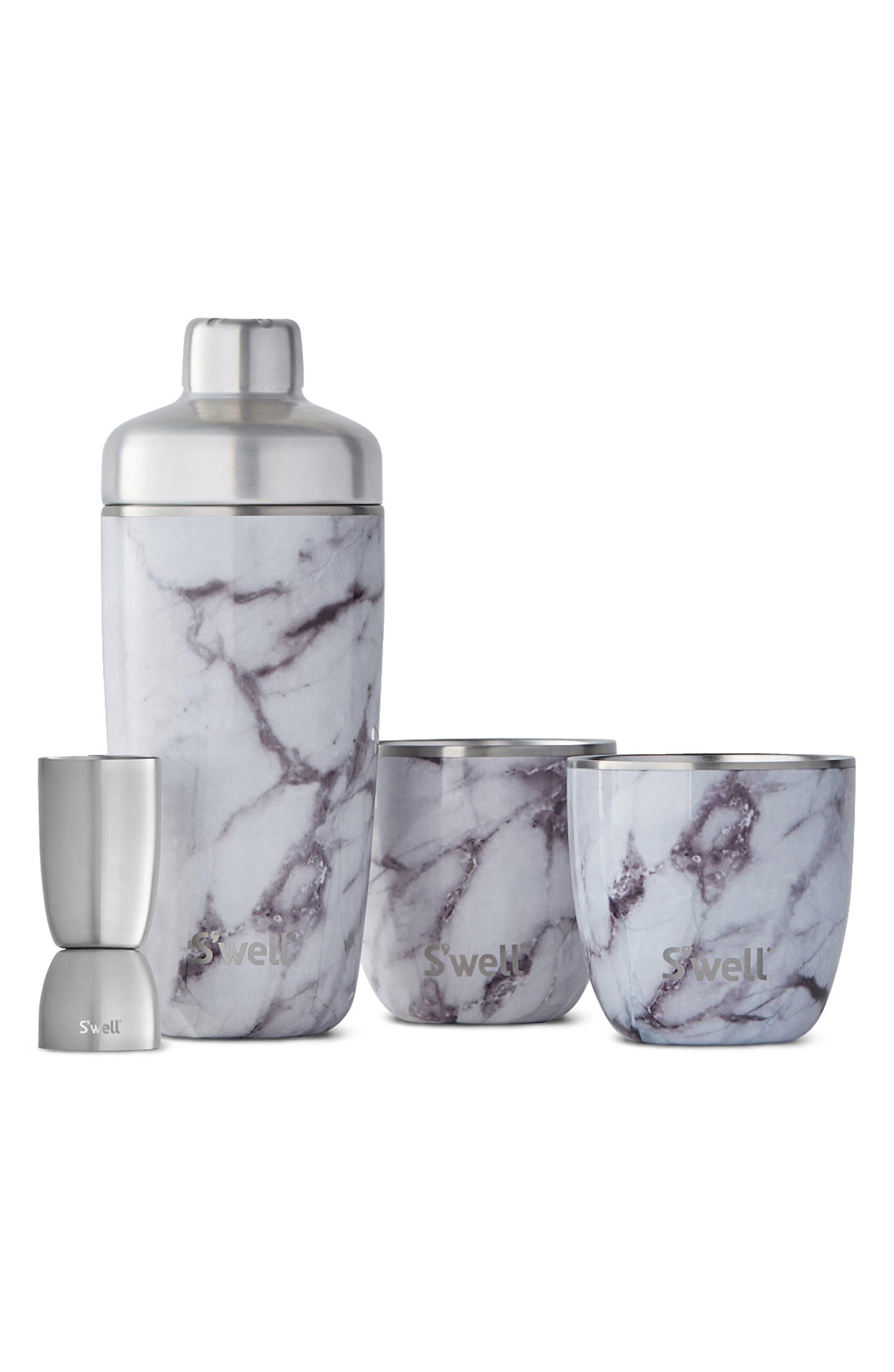 Barware Set,                         Main,                         color, WHITE MARBLE