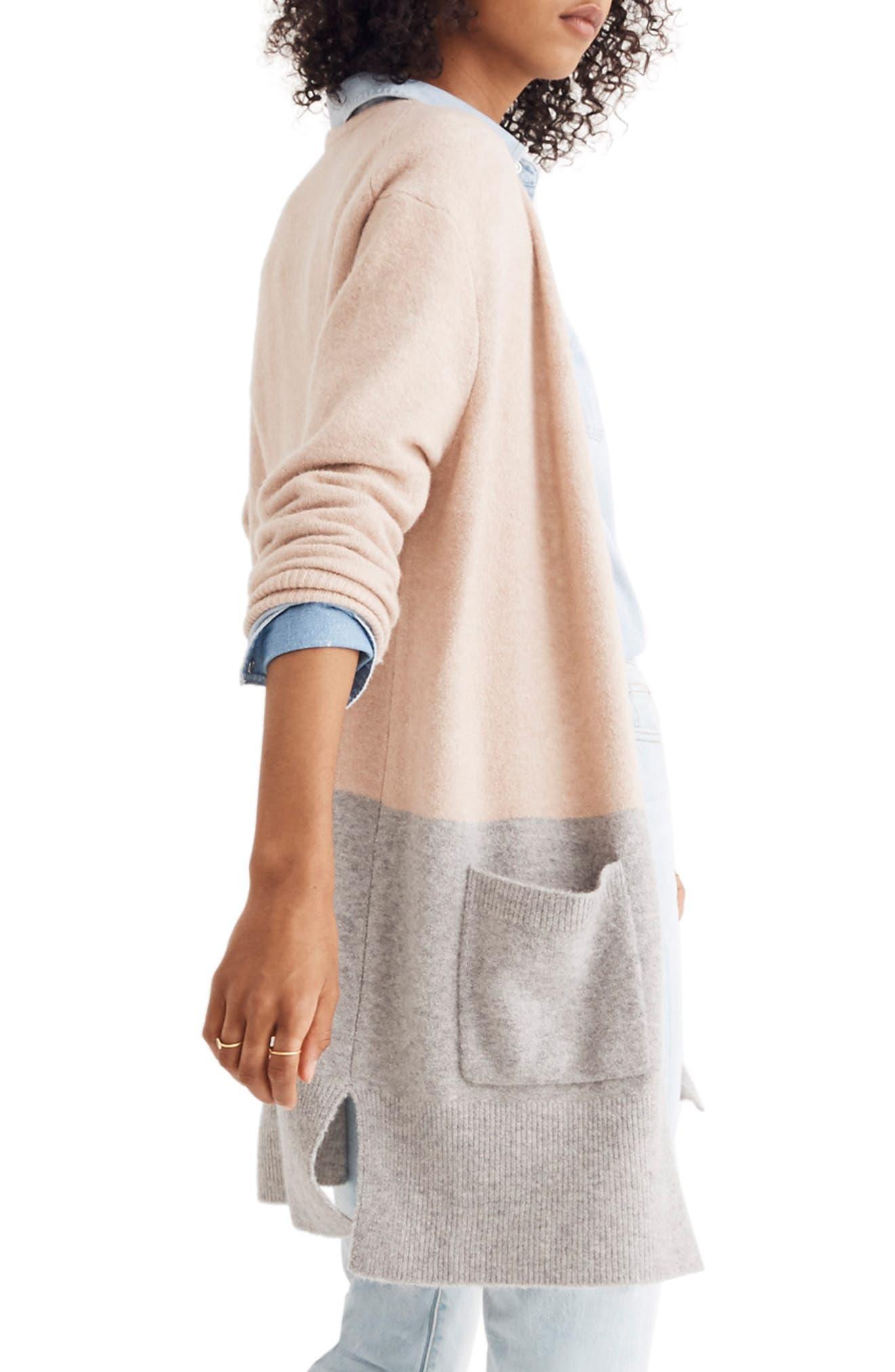 Kent Colorblock Cardigan Sweater,                             Alternate thumbnail 3, color,                             HEATHER BEIGE