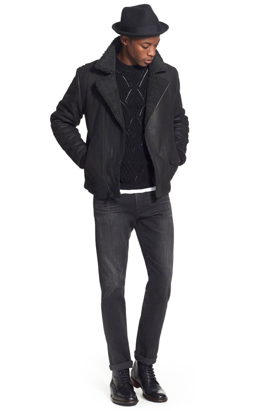Leather Moto Jacket with Faux Shearling Lining,                             Alternate thumbnail 6, color,