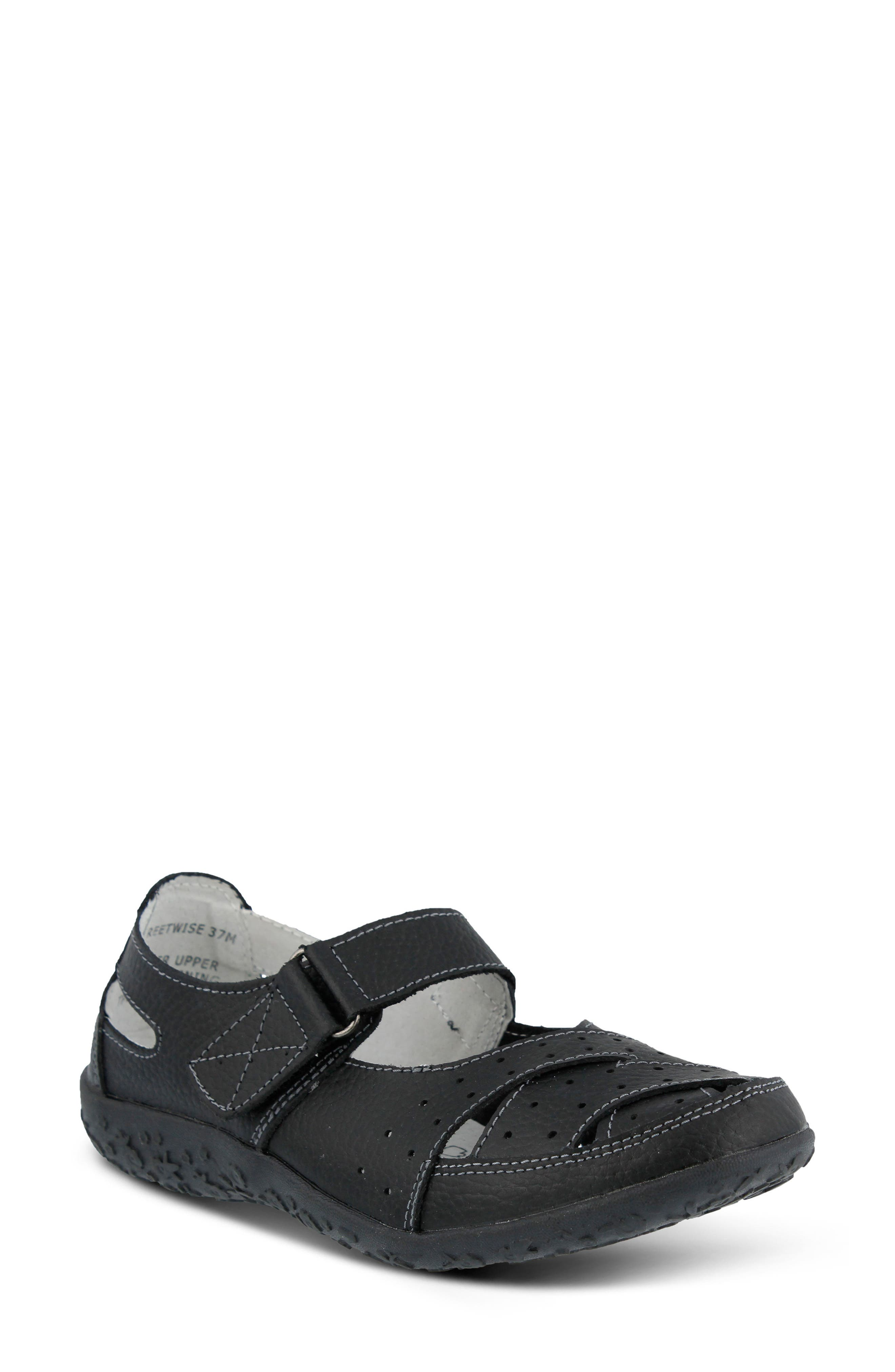 Streetwise Flat,                             Main thumbnail 1, color,                             BLACK LEATHER