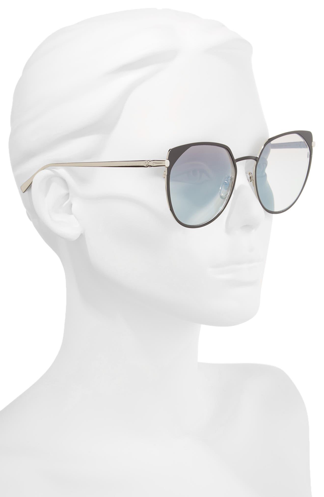58mm Rounded Cat Eye Sunglasses,                             Alternate thumbnail 2, color,                             001
