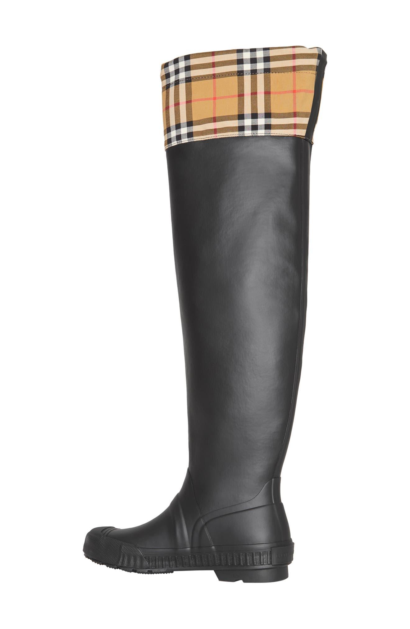 BURBERRY,                             Freddie Tall Waterproof Rain Boot,                             Alternate thumbnail 8, color,                             BLACK