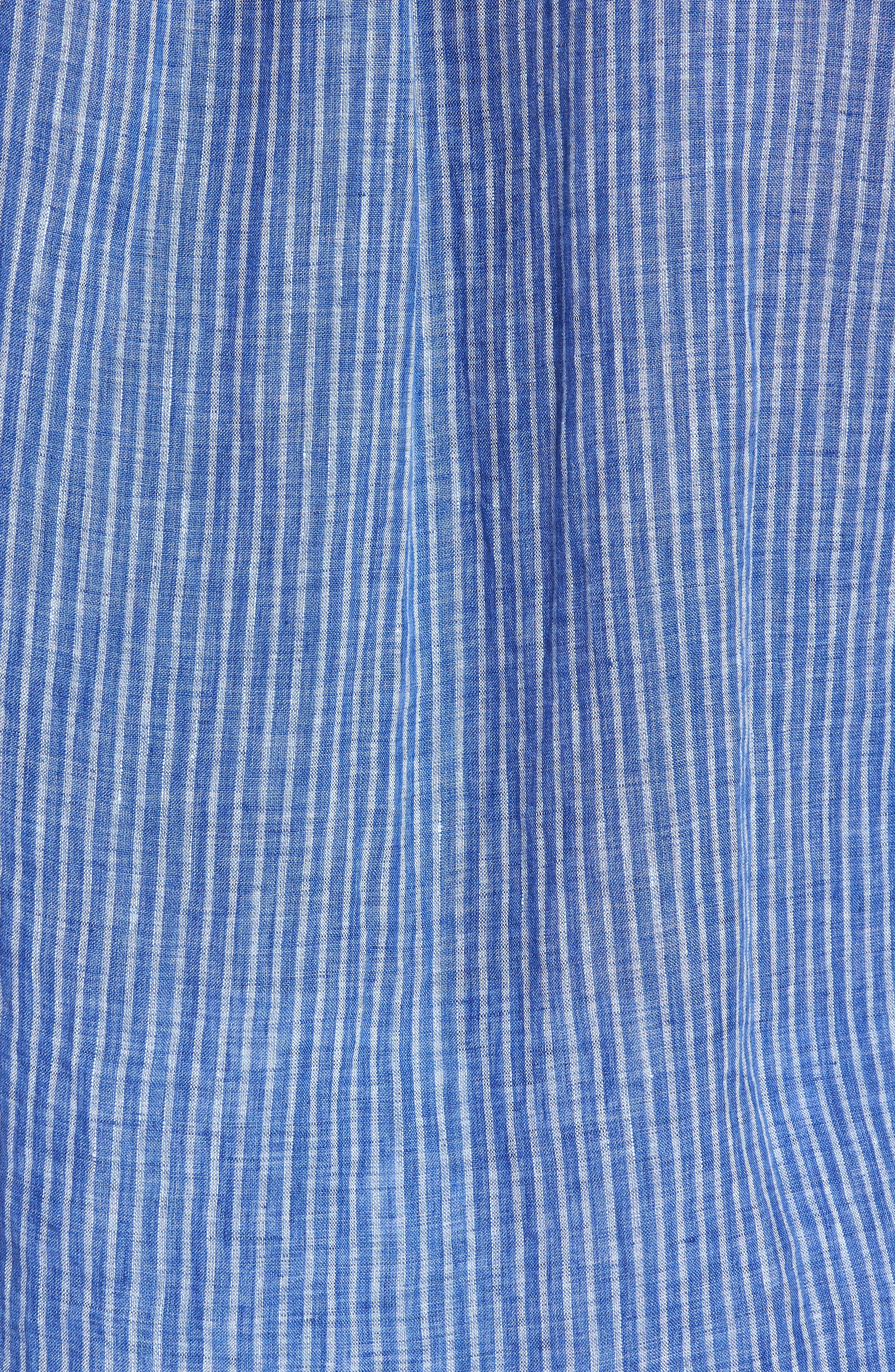 Warwick Junction Stripe Linen Sport Shirt,                             Alternate thumbnail 5, color,                             ULTRAMARINE