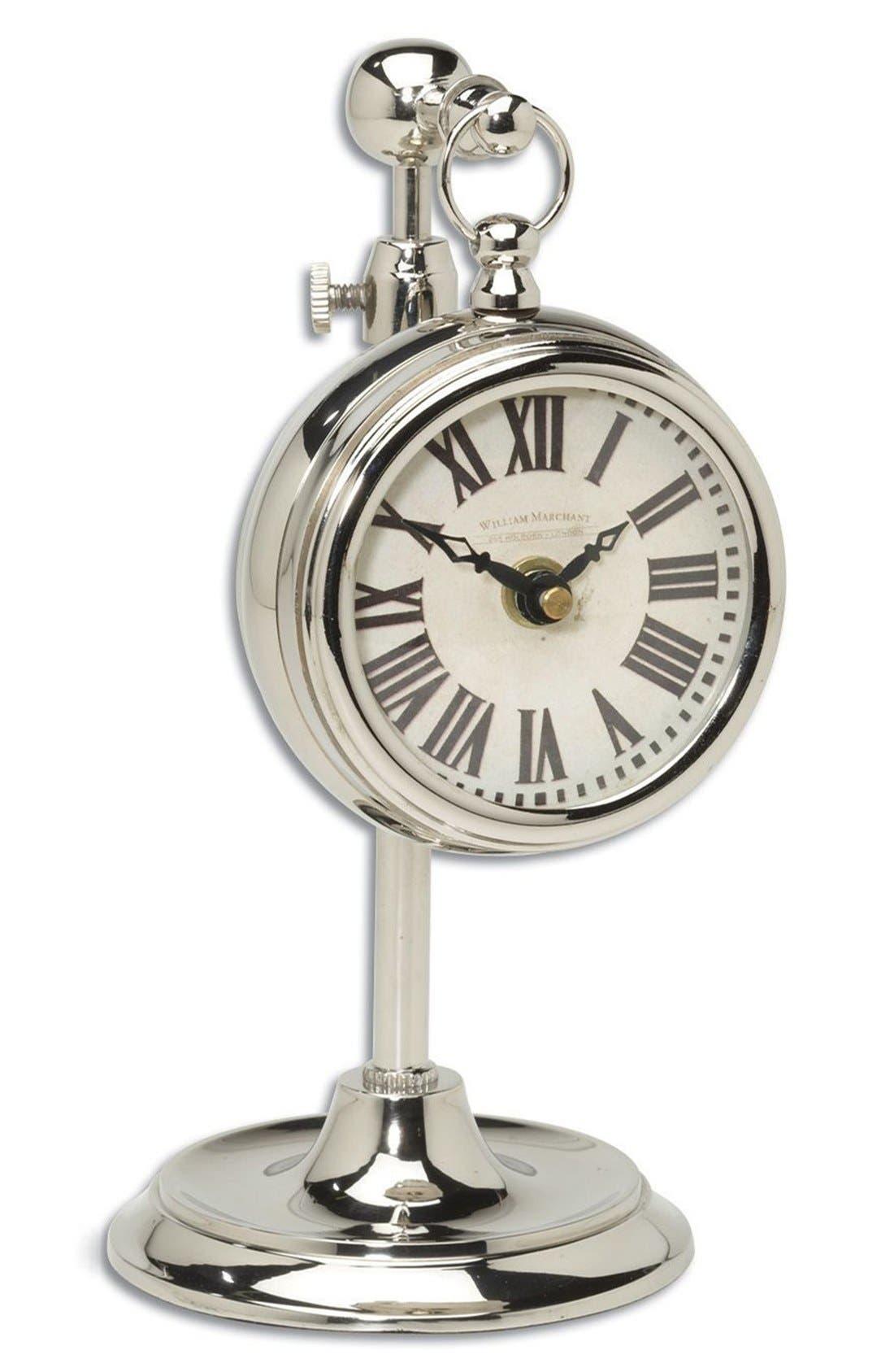 UTTERMOST 'Pocket Watch' Nickel Clock, Main, color, 040