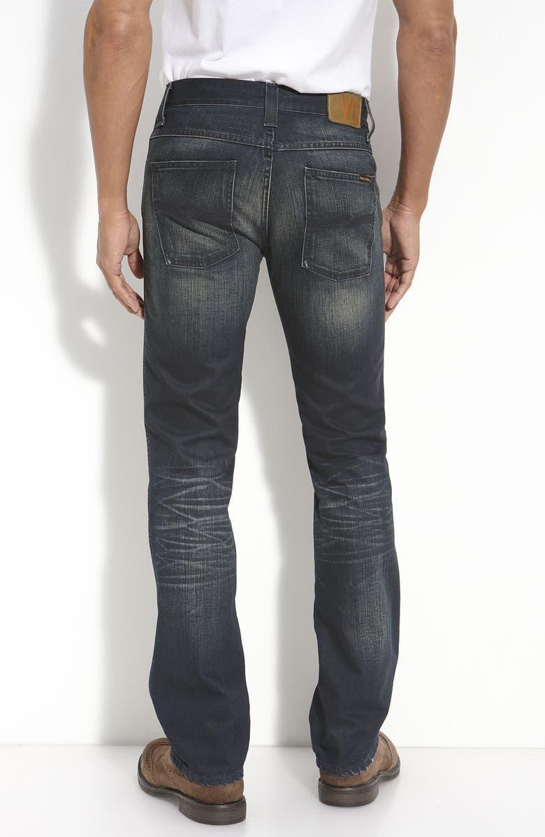 86fd80ea7cef Nudie  Slim Jim  Straight Leg Jeans (Used Blue Coated Wash)