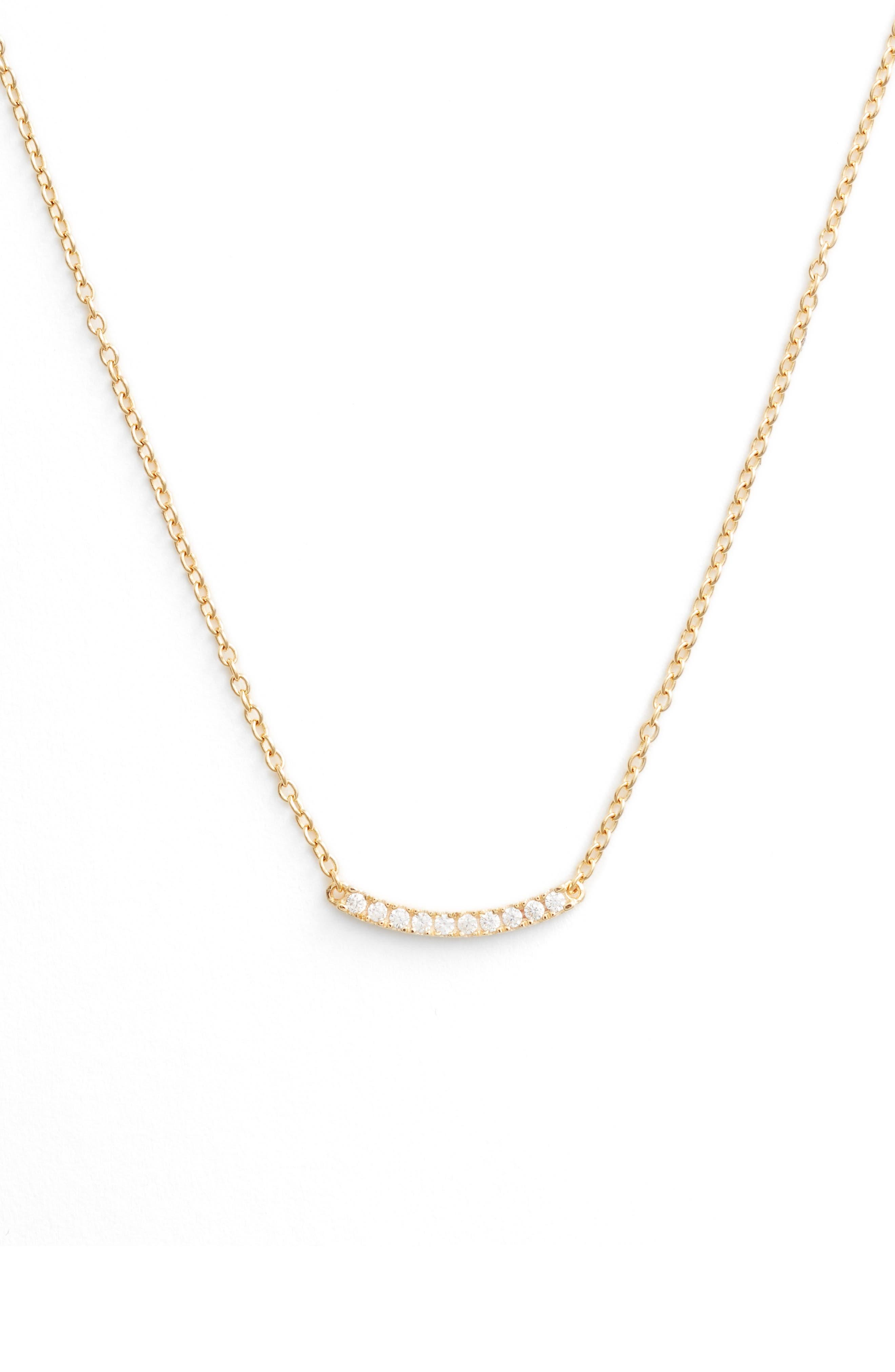 Pavé Curved Bar Pendant Necklace,                             Main thumbnail 2, color,