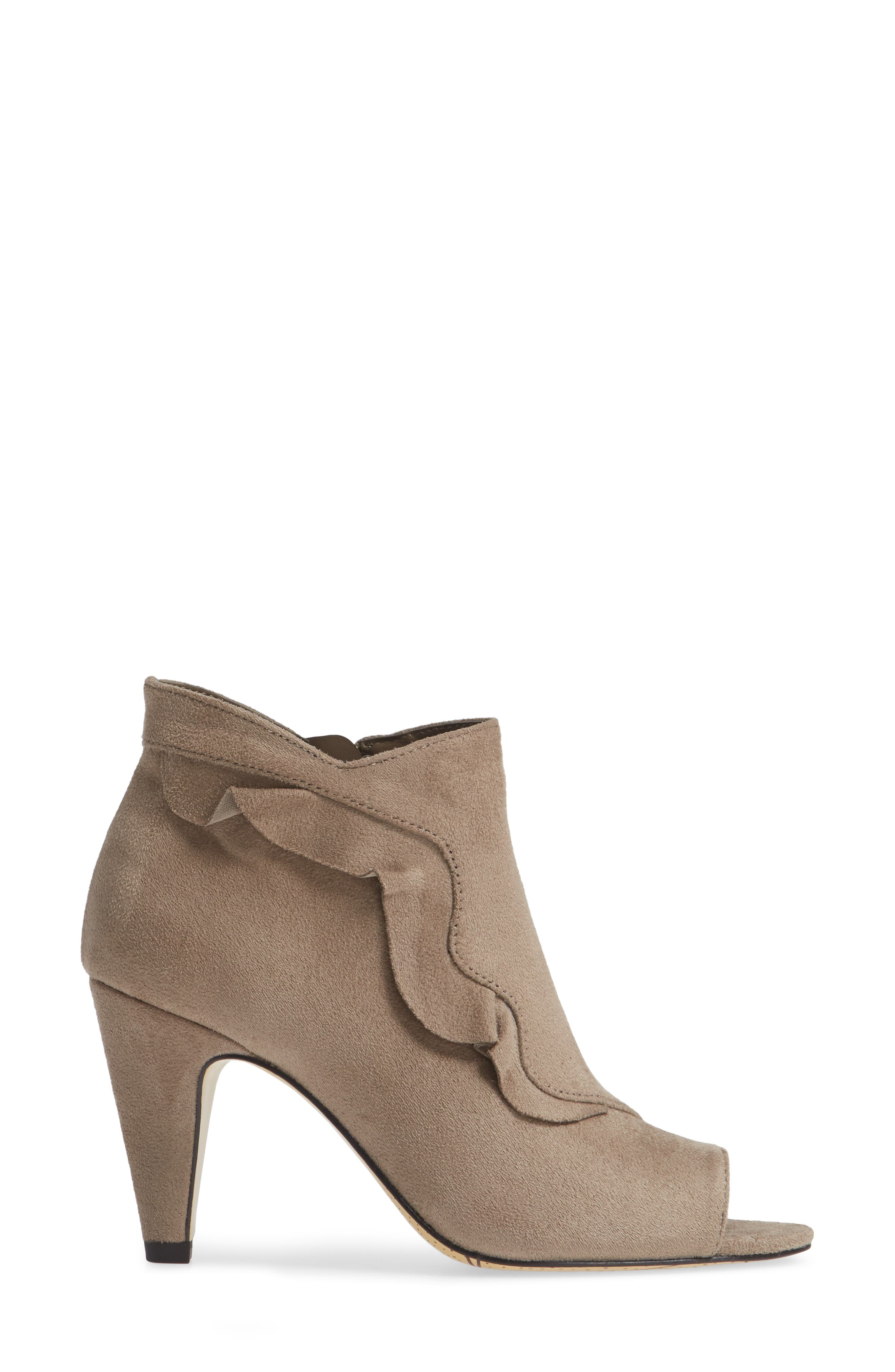 Nicolette Ruffle Dress Bootie,                             Alternate thumbnail 3, color,                             STONE SUEDE