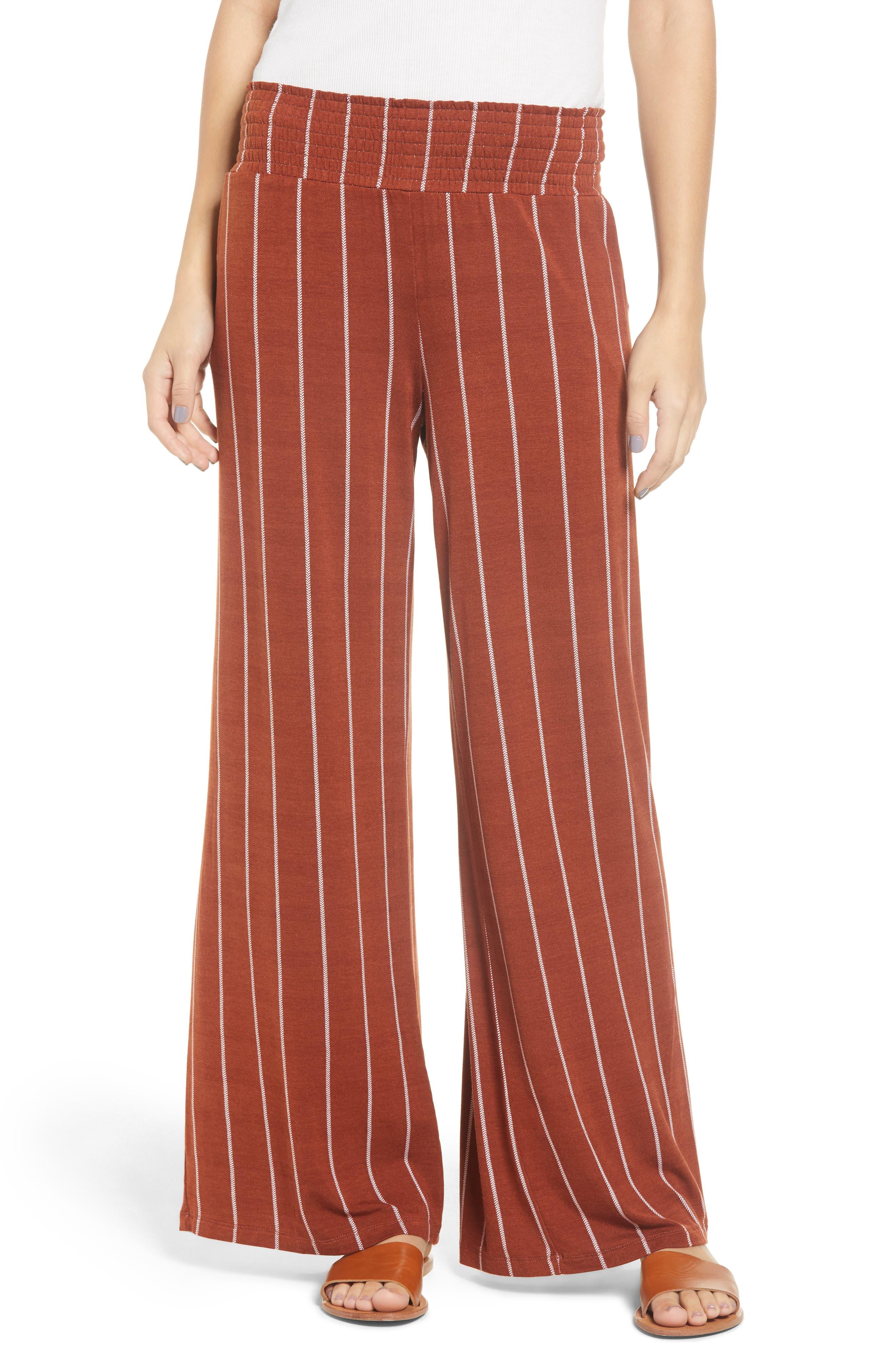 Stripe Knit Wide Leg Pants,                             Main thumbnail 1, color,                             SEQUOIA