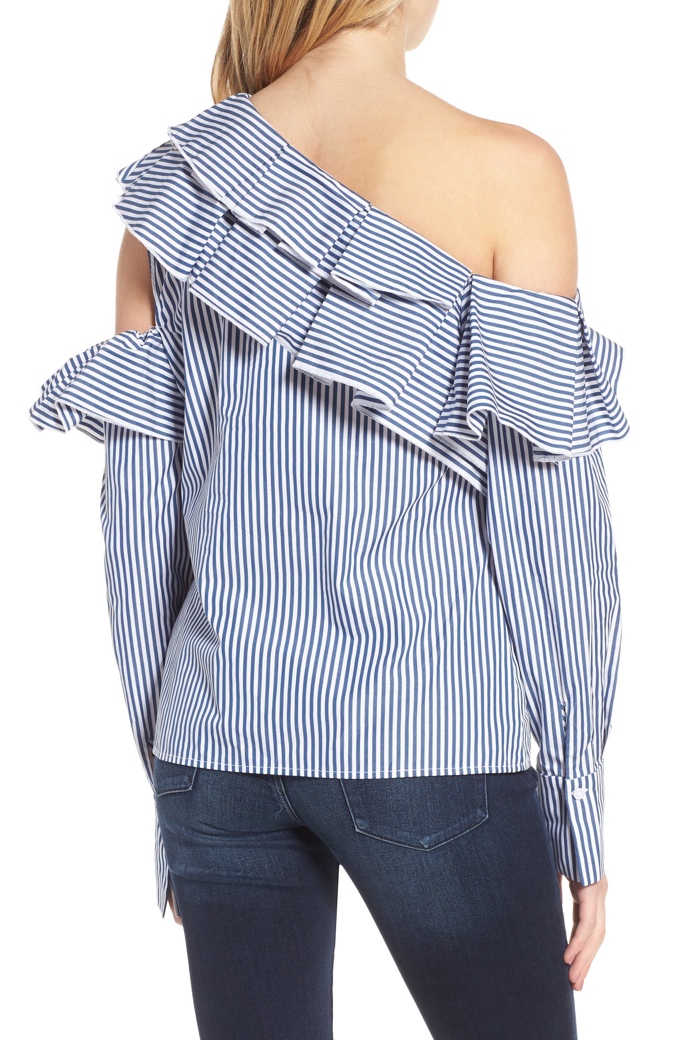 Ruffle One-Shoulder Blouse,                             Alternate thumbnail 2, color,                             410