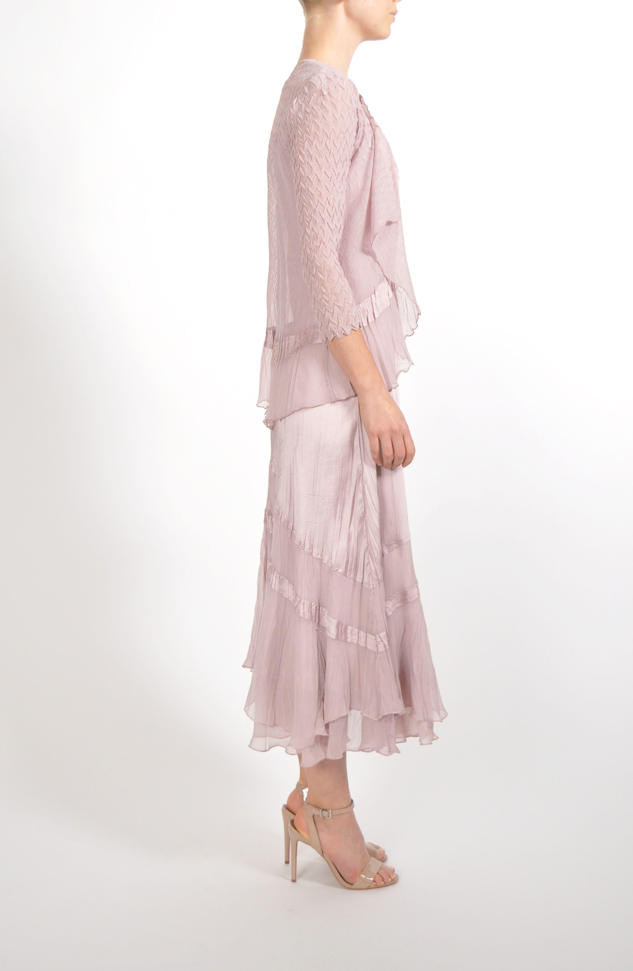 Embellished Tiered Hem Dress With Jacket,                             Alternate thumbnail 6, color,                             030