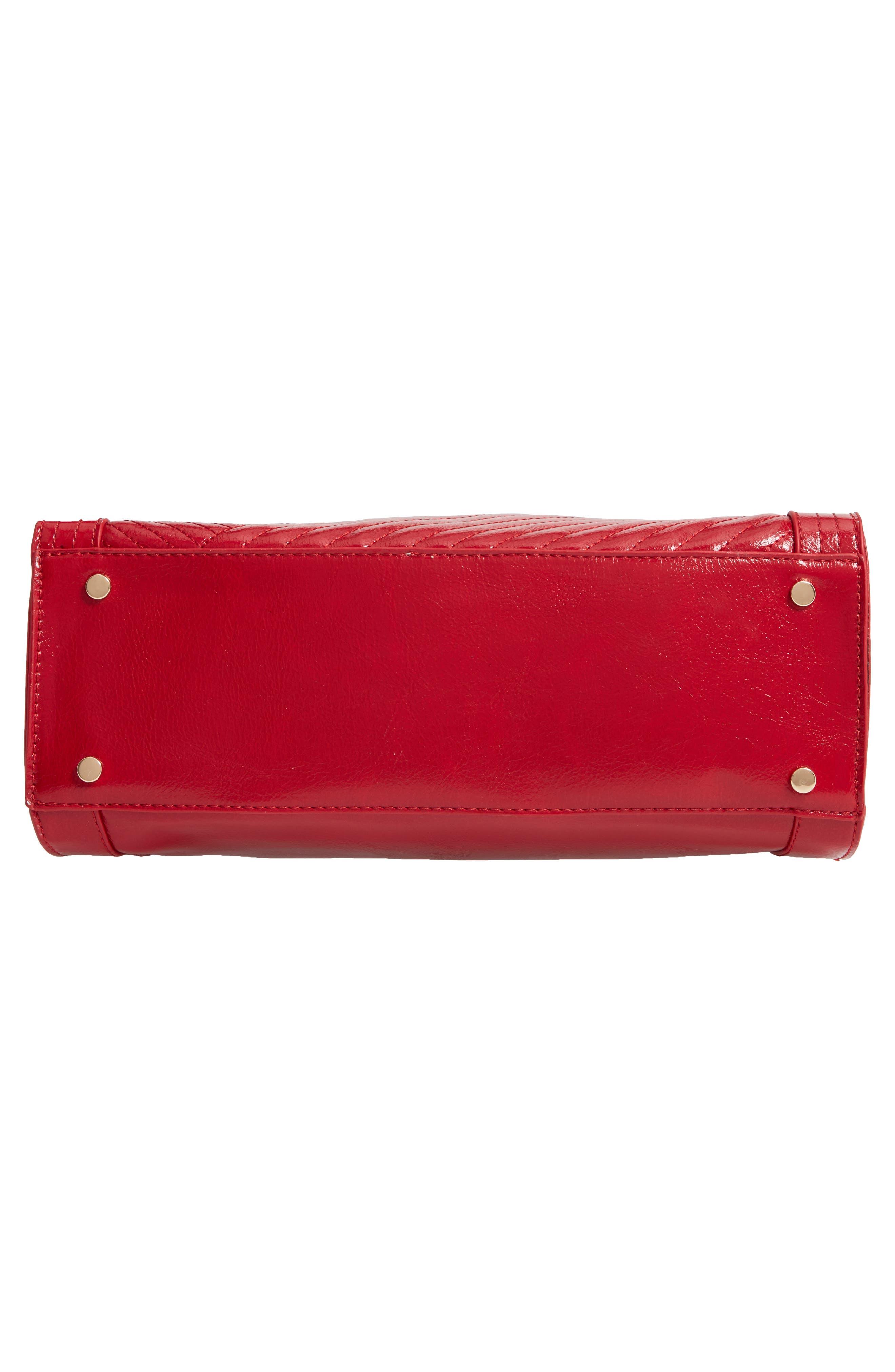 Aisln Faux Leather Satchel,                             Alternate thumbnail 6, color,                             RED