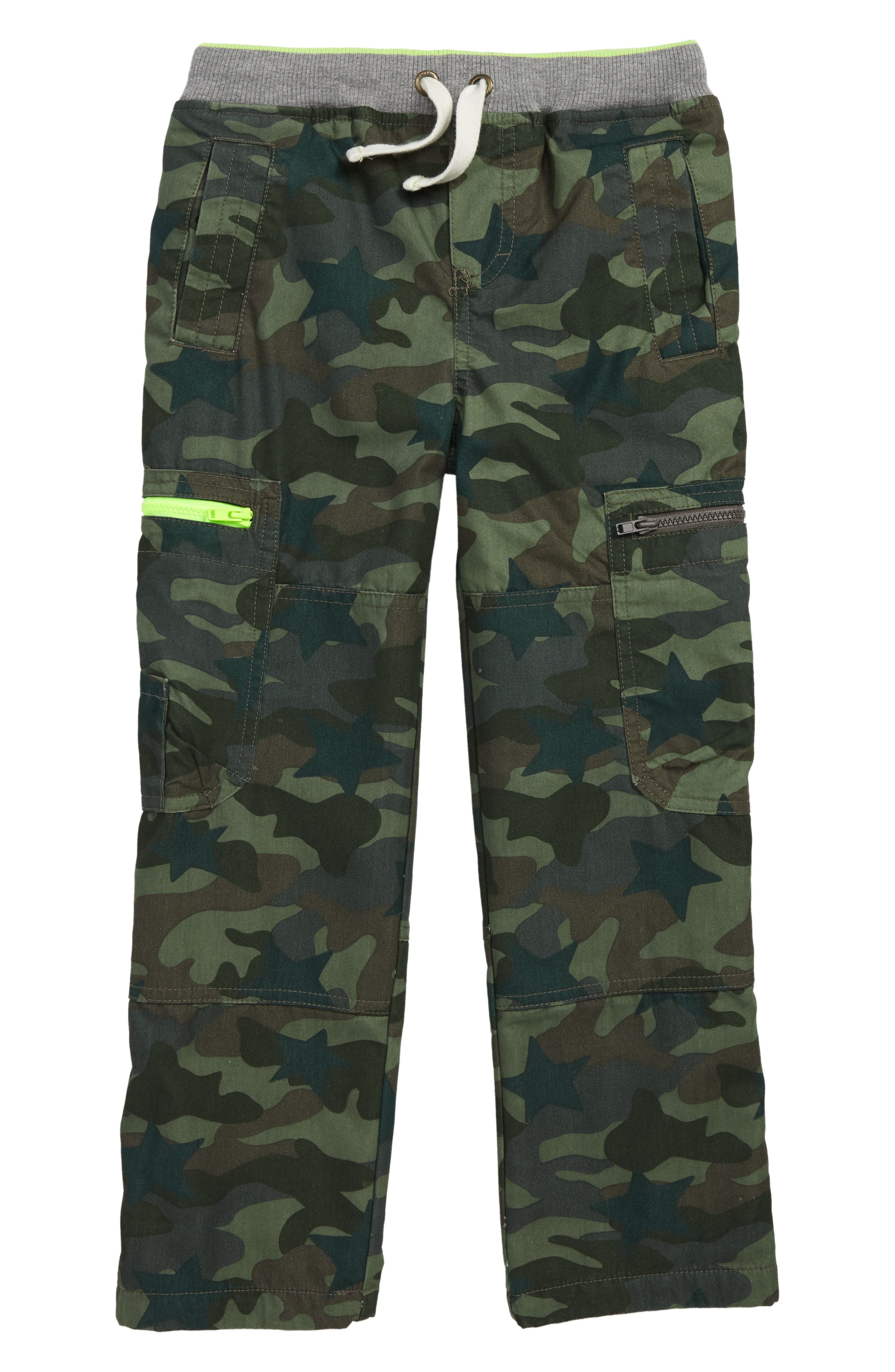 Cargo Pull On Pants,                         Main,                         color, KHAKI GREEN CAMOFLAGE STAR