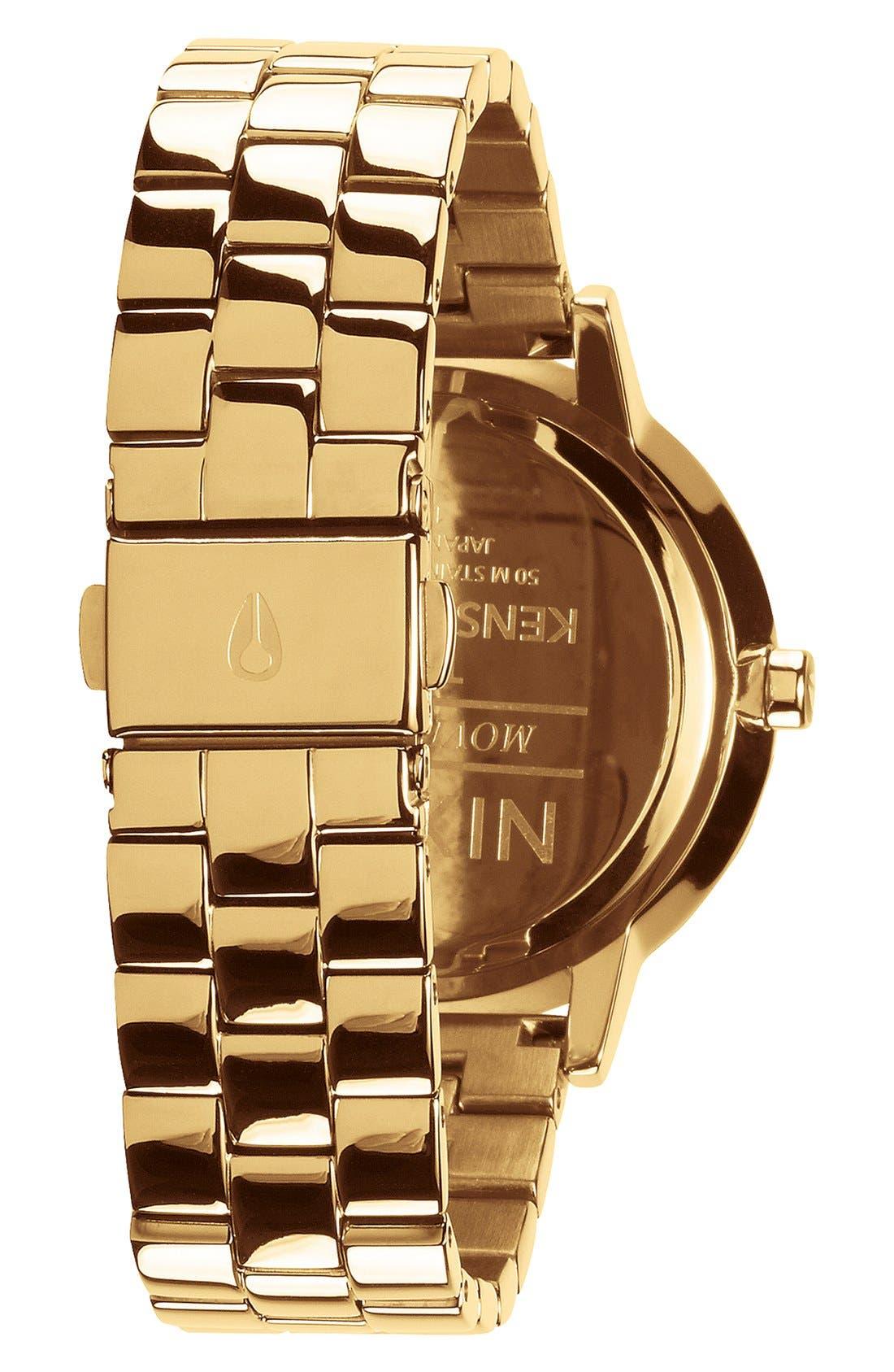 NIXON,                             'The Kensington' Round Bracelet Watch, 37mm,                             Alternate thumbnail 2, color,                             GOLD/ BLACK