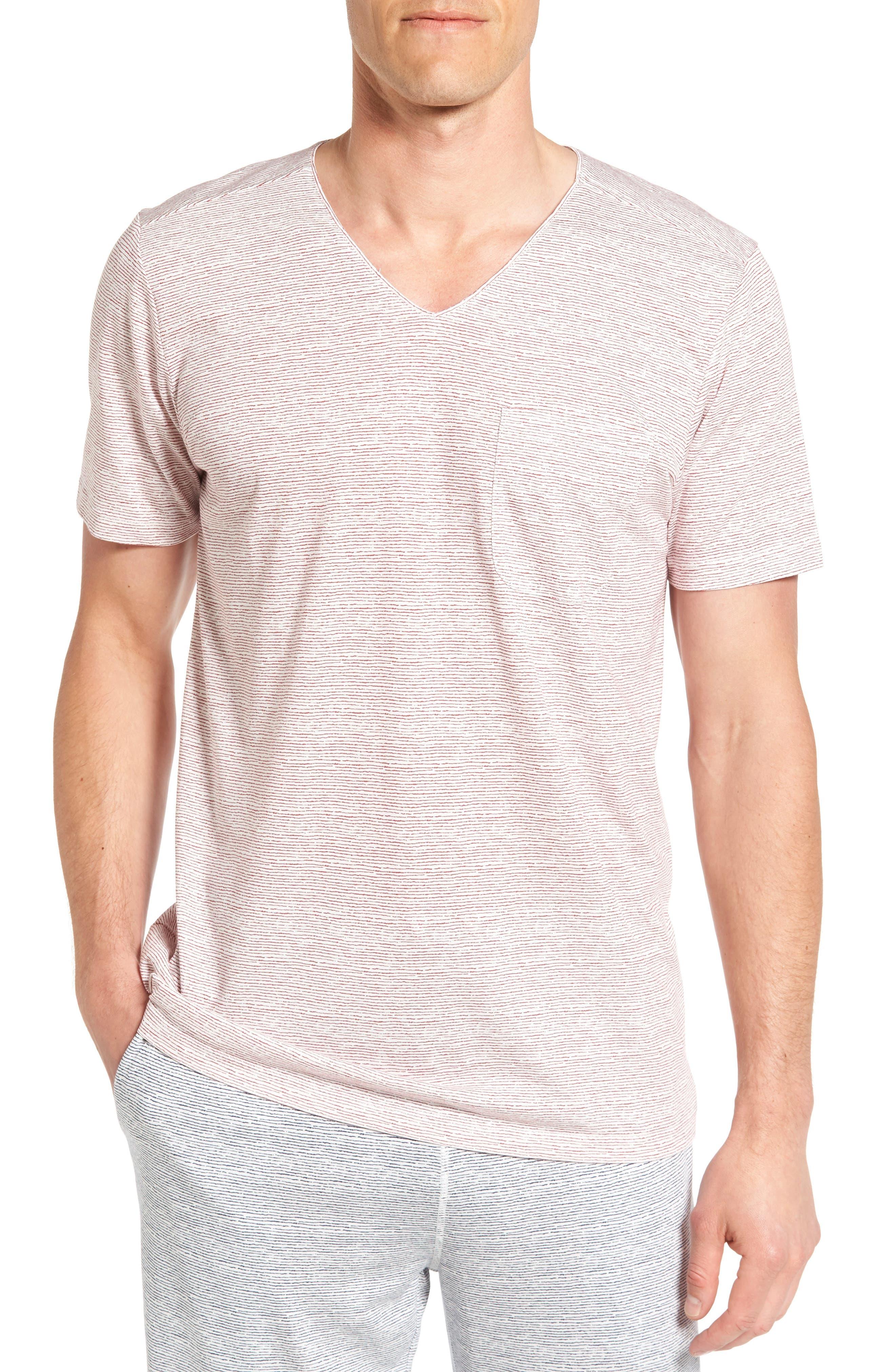 Feeder Stripe Pima Cotton & Modal V-Neck T-Shirt,                             Main thumbnail 3, color,