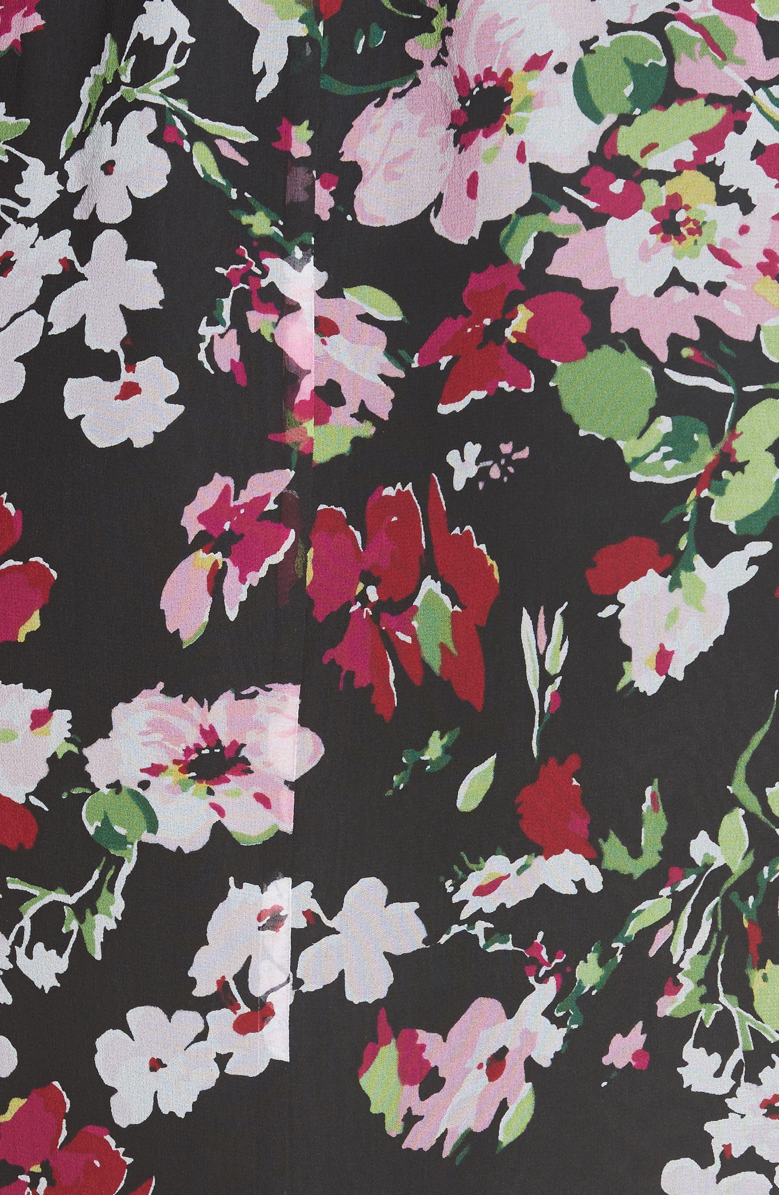 Natasha Floral Print Silk Dress,                             Alternate thumbnail 5, color,                             TRUE BLACK MULTI