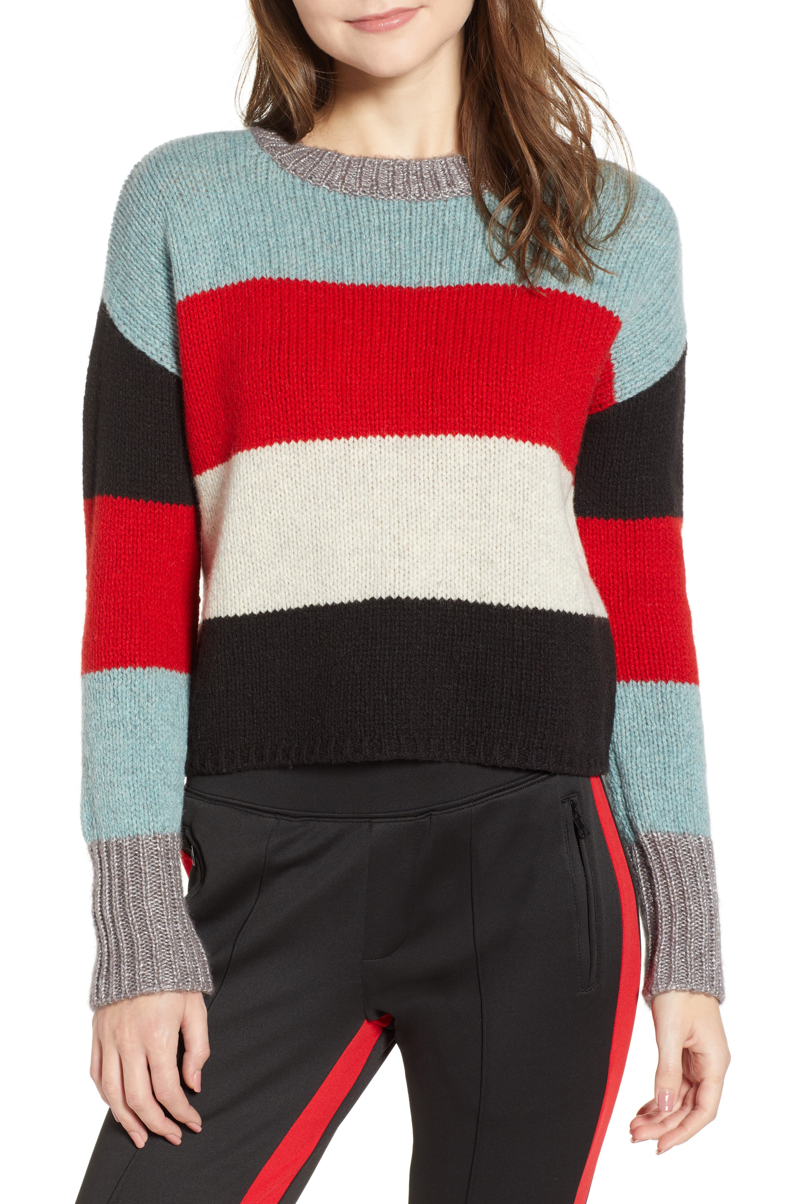 Stripe Crop Sweater,                             Main thumbnail 1, color,                             MULTICOLOR