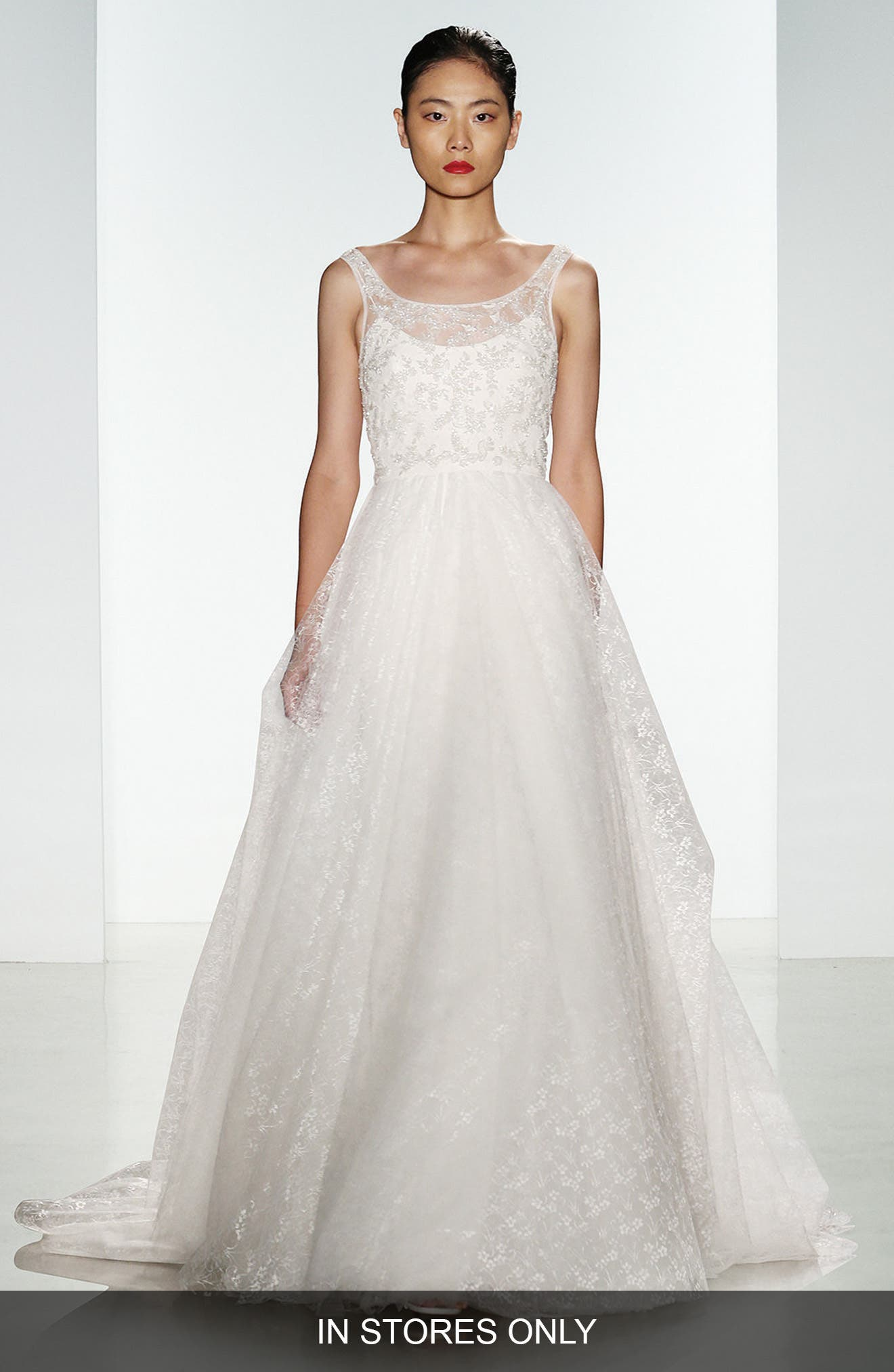 Claire Beaded Chantilly Lace & Floral Tulle Ballgown,                             Alternate thumbnail 2, color,                             900