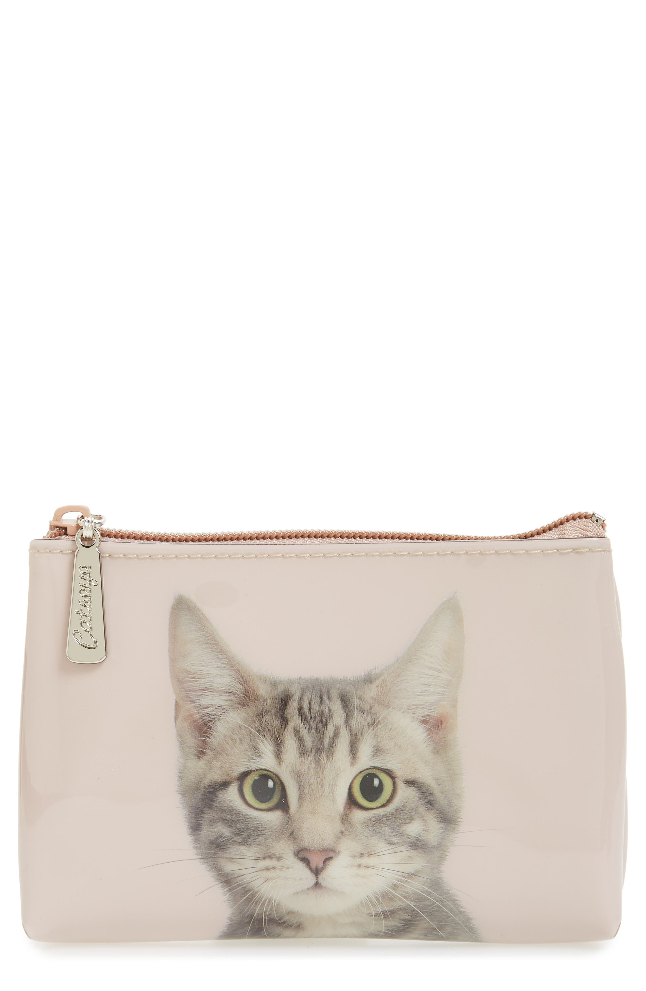 Small Kitty Zip Pouch,                             Main thumbnail 1, color,                             250