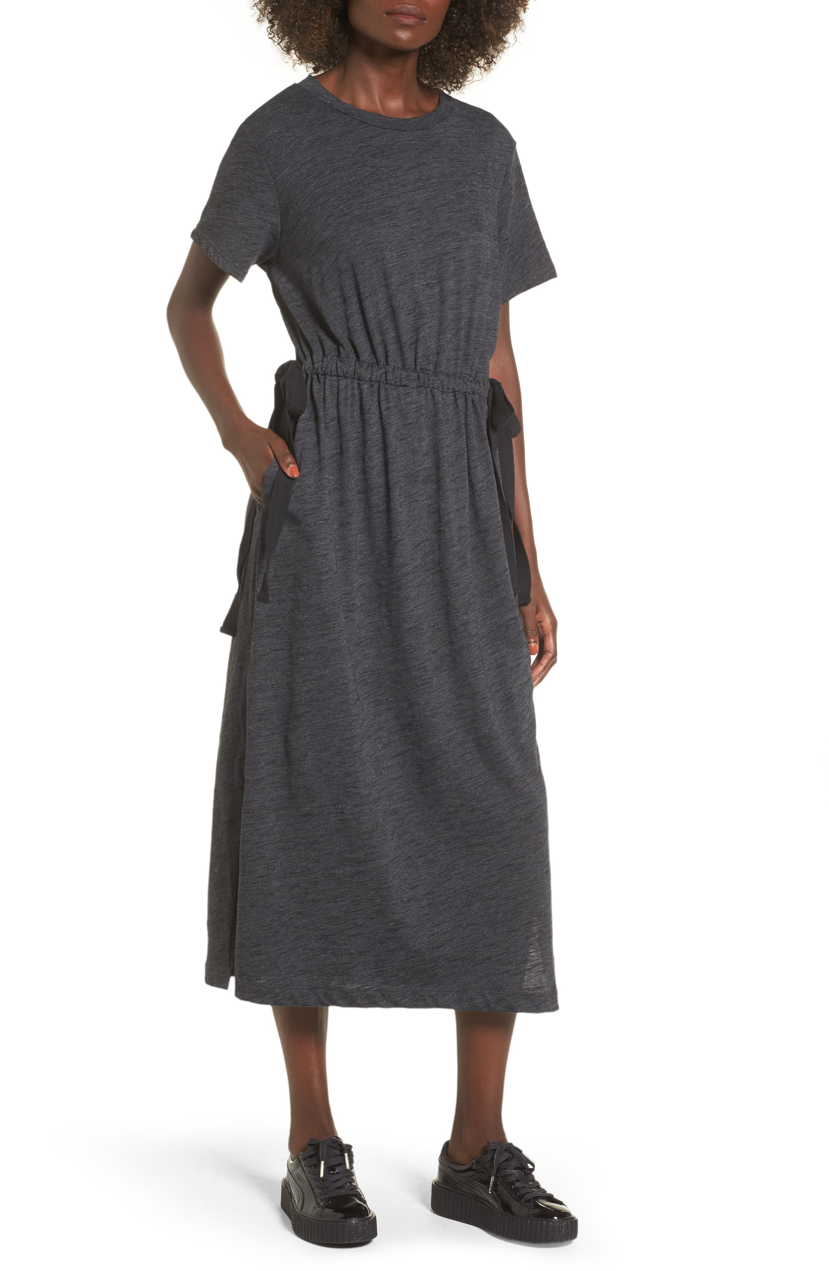Side Tie Midi T-Shirt Dress,                             Main thumbnail 1, color,