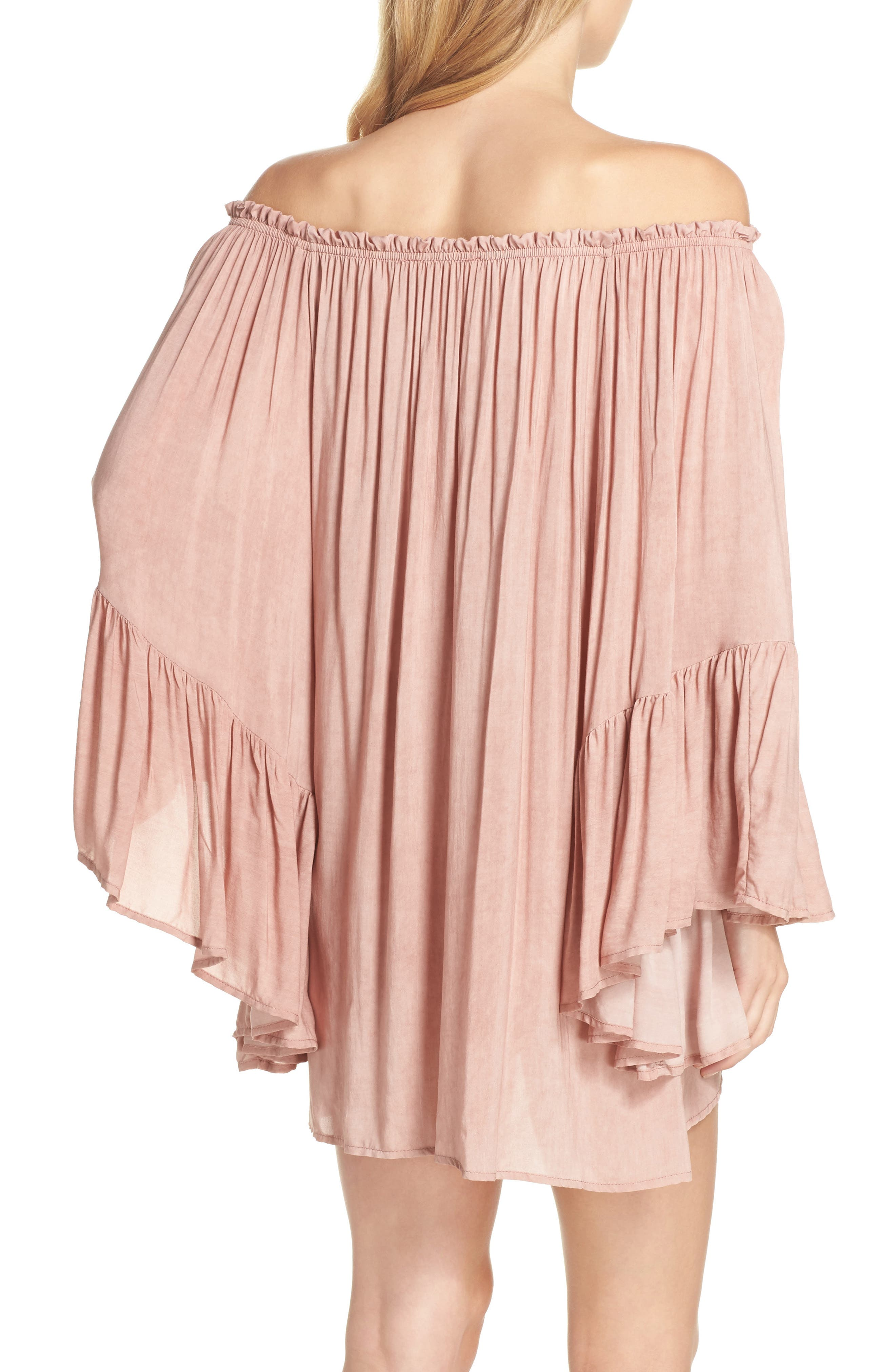 Bell Sleeve Cover-Up Tunic Dress,                             Alternate thumbnail 2, color,                             663