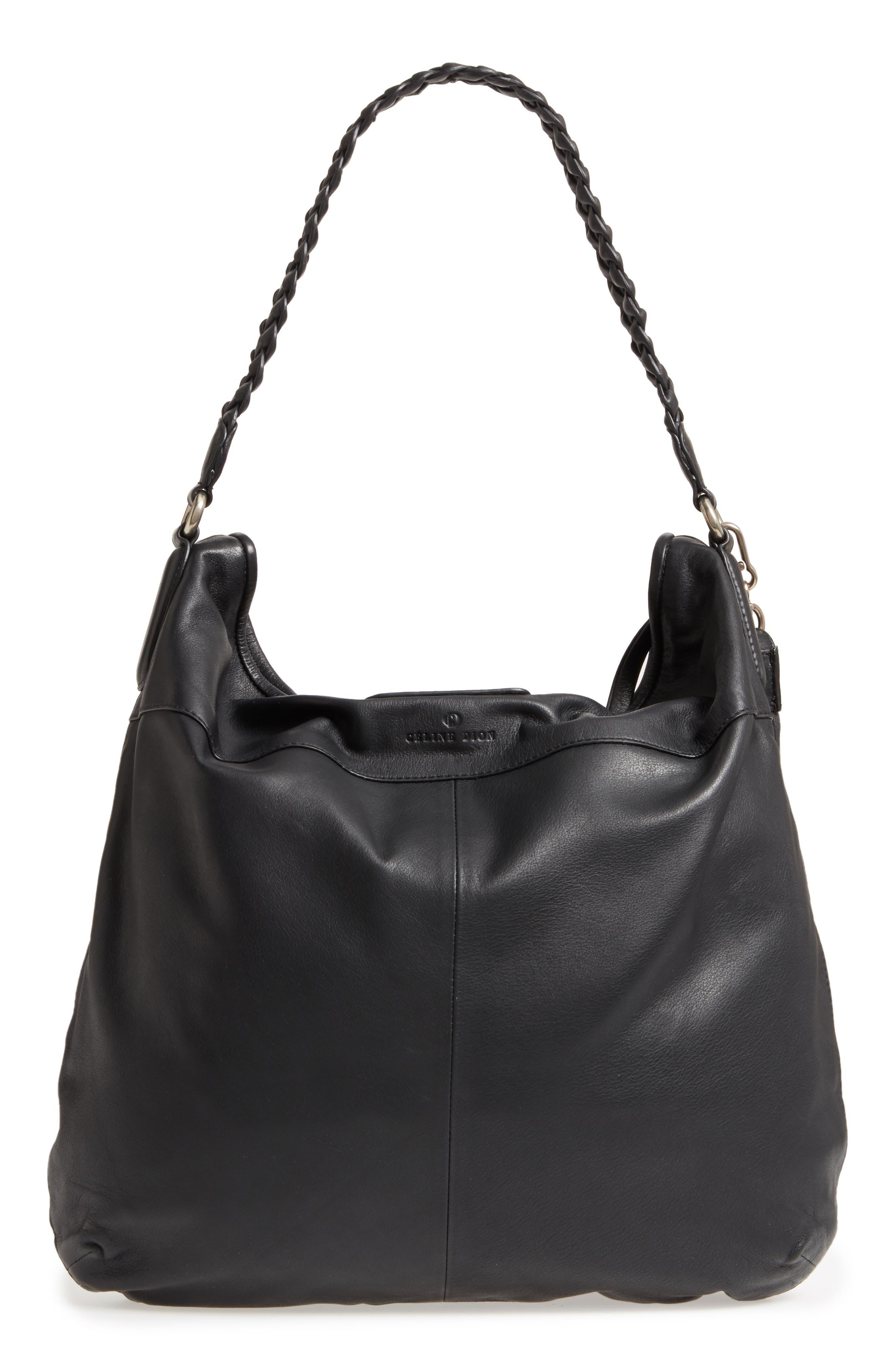 Céline Dion Cadence Leather Hobo Bag,                             Alternate thumbnail 3, color,                             001