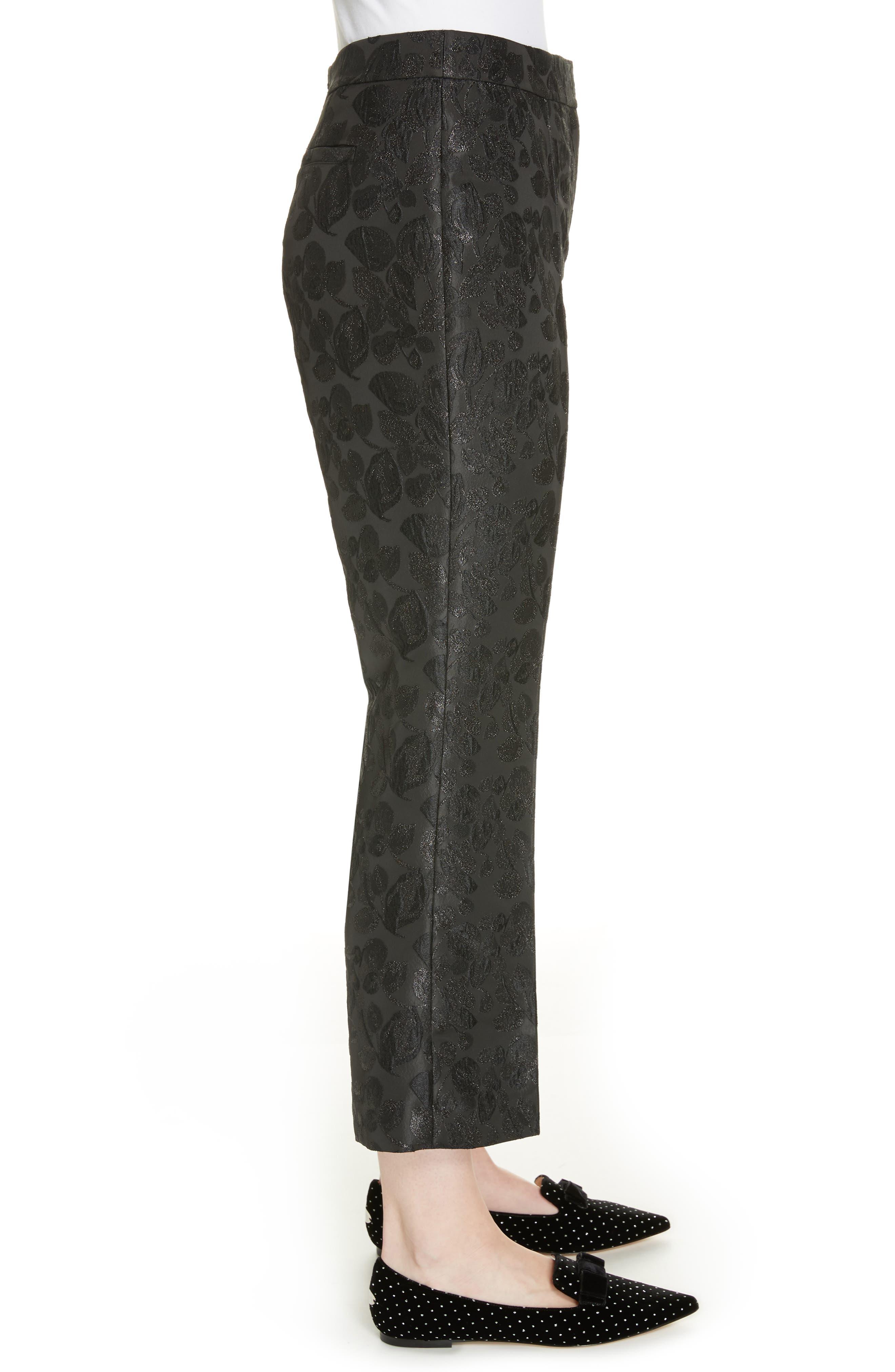 metallic tonal jacquard flare pants,                             Alternate thumbnail 3, color,                             BLACK
