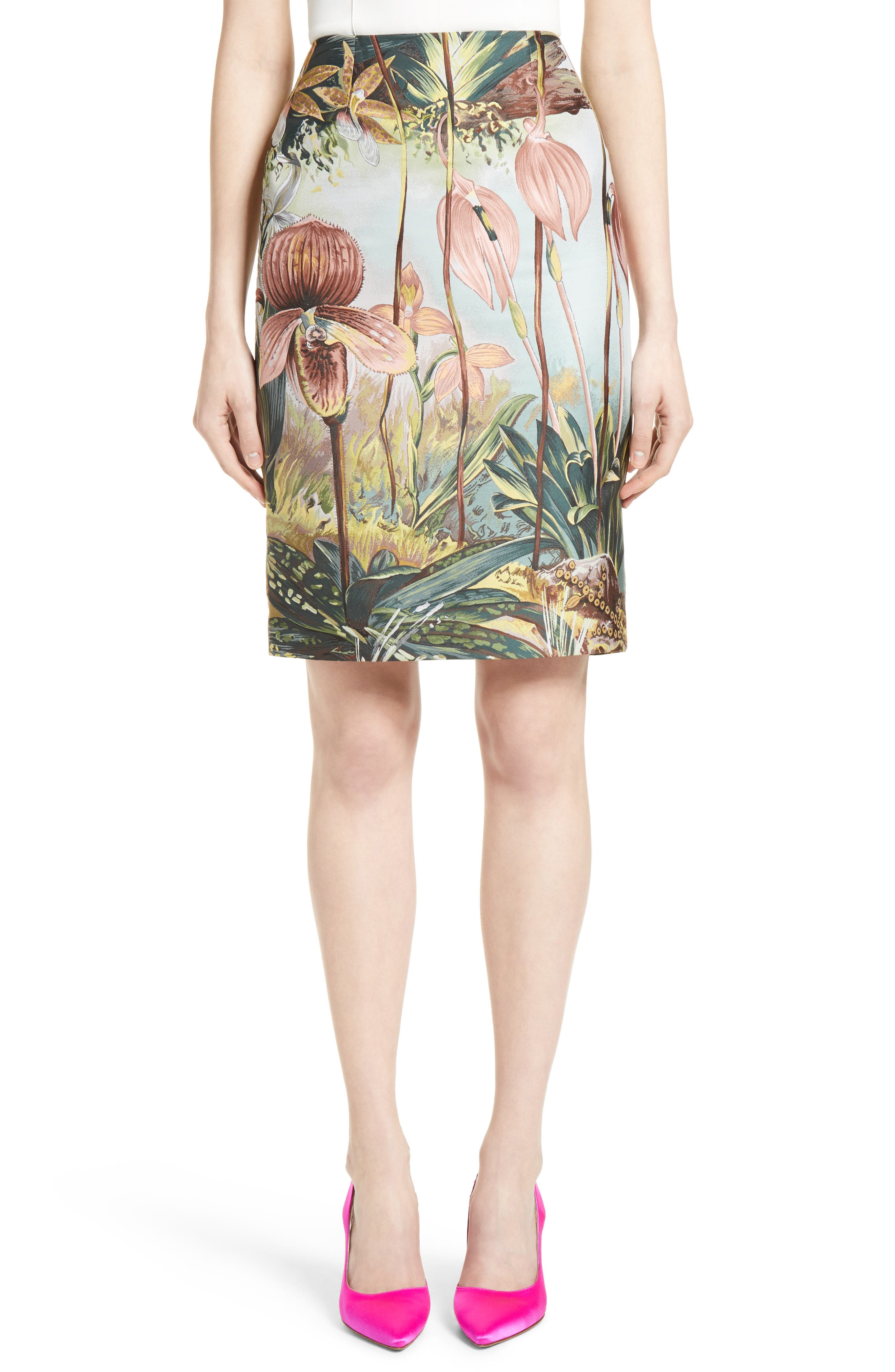 Orchid Print Jacquard Pencil Skirt,                             Main thumbnail 1, color,                             650