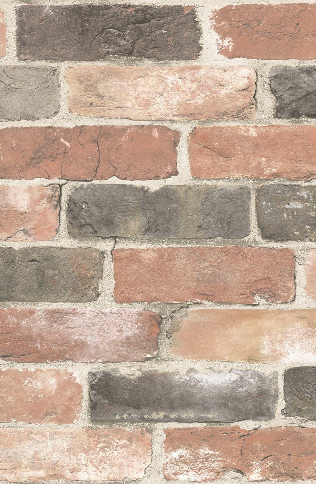 'Newport Brick'  Peel & Stick Vinyl Wallpaper,                         Main,                         color,