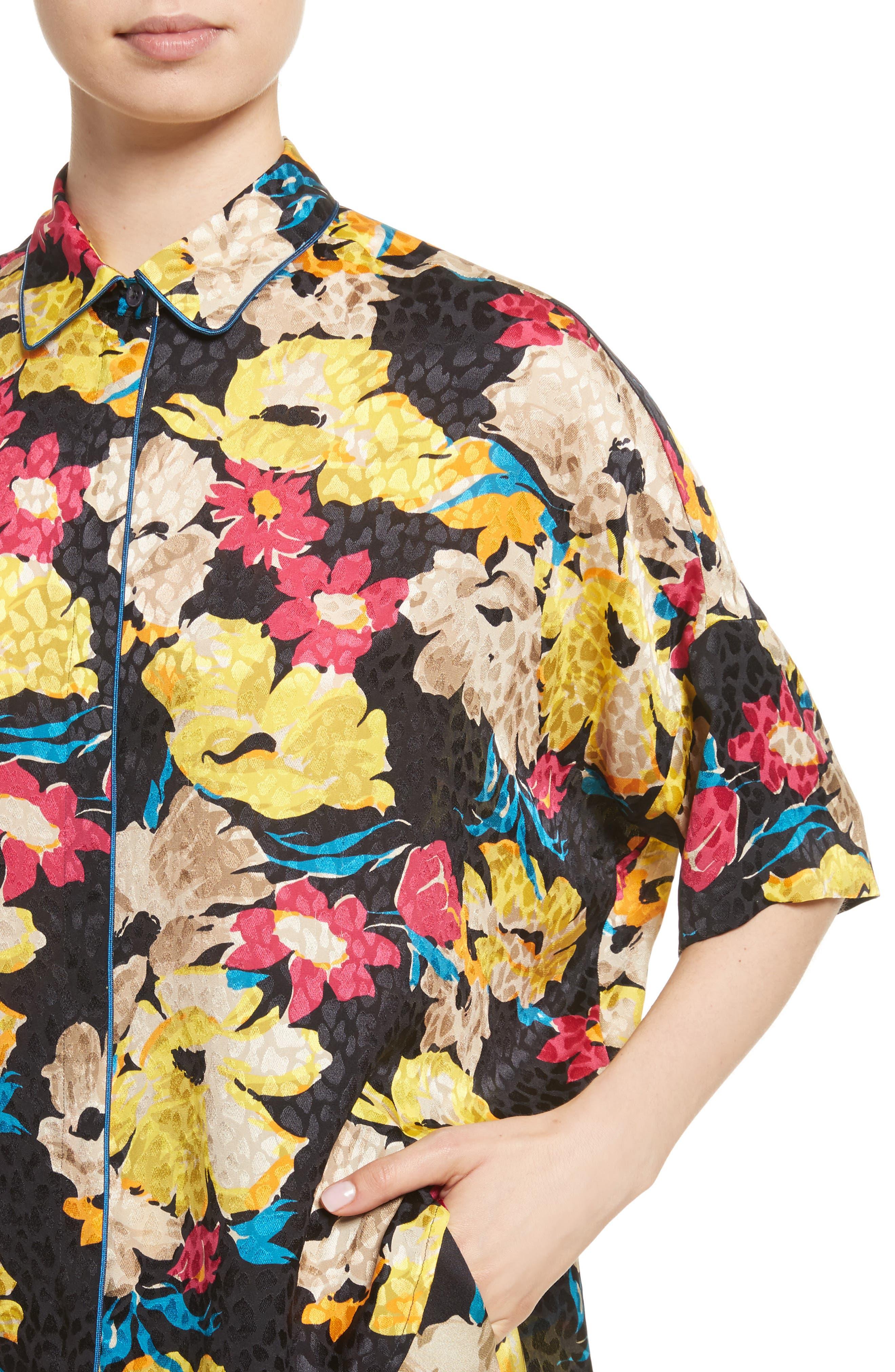 Print Silk Jacquard Blouse,                             Alternate thumbnail 4, color,                             001