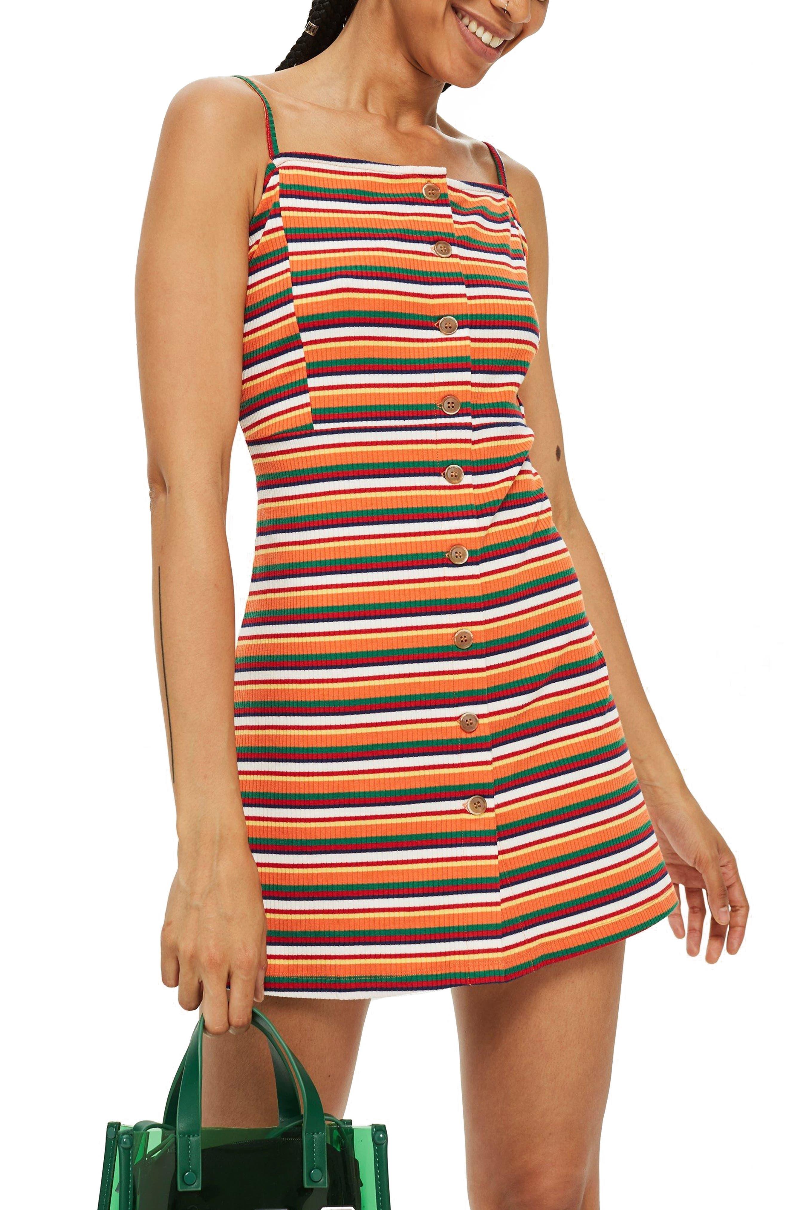 Stripe Button Down Minidress,                         Main,                         color, 801