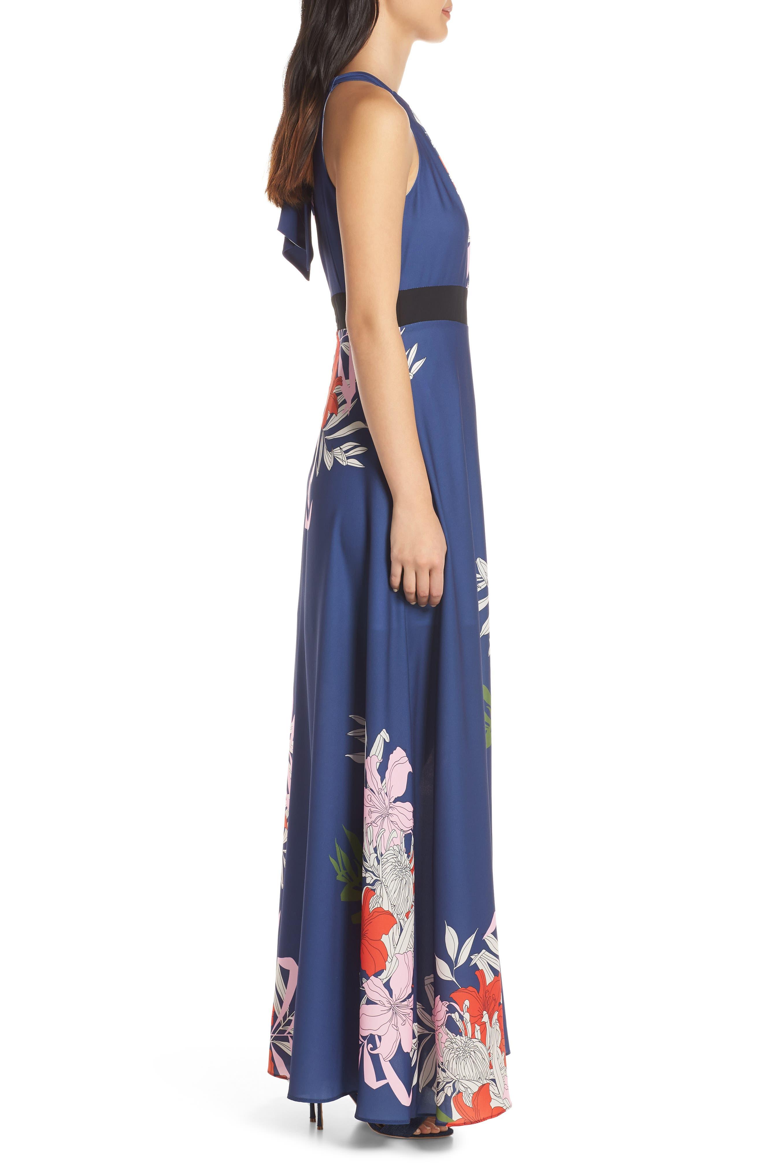 Palmira Maxi Dress,                             Alternate thumbnail 3, color,                             NAVY MULTI