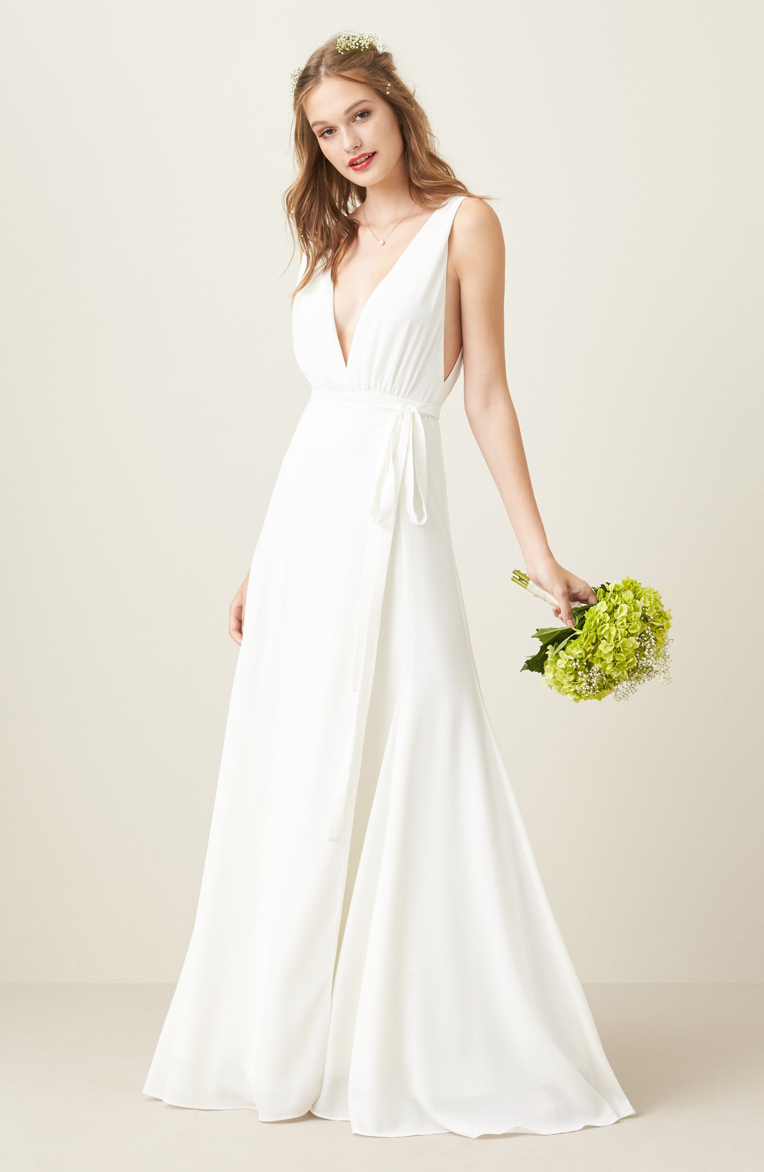 Joanna August Wrap A-Line Gown, White