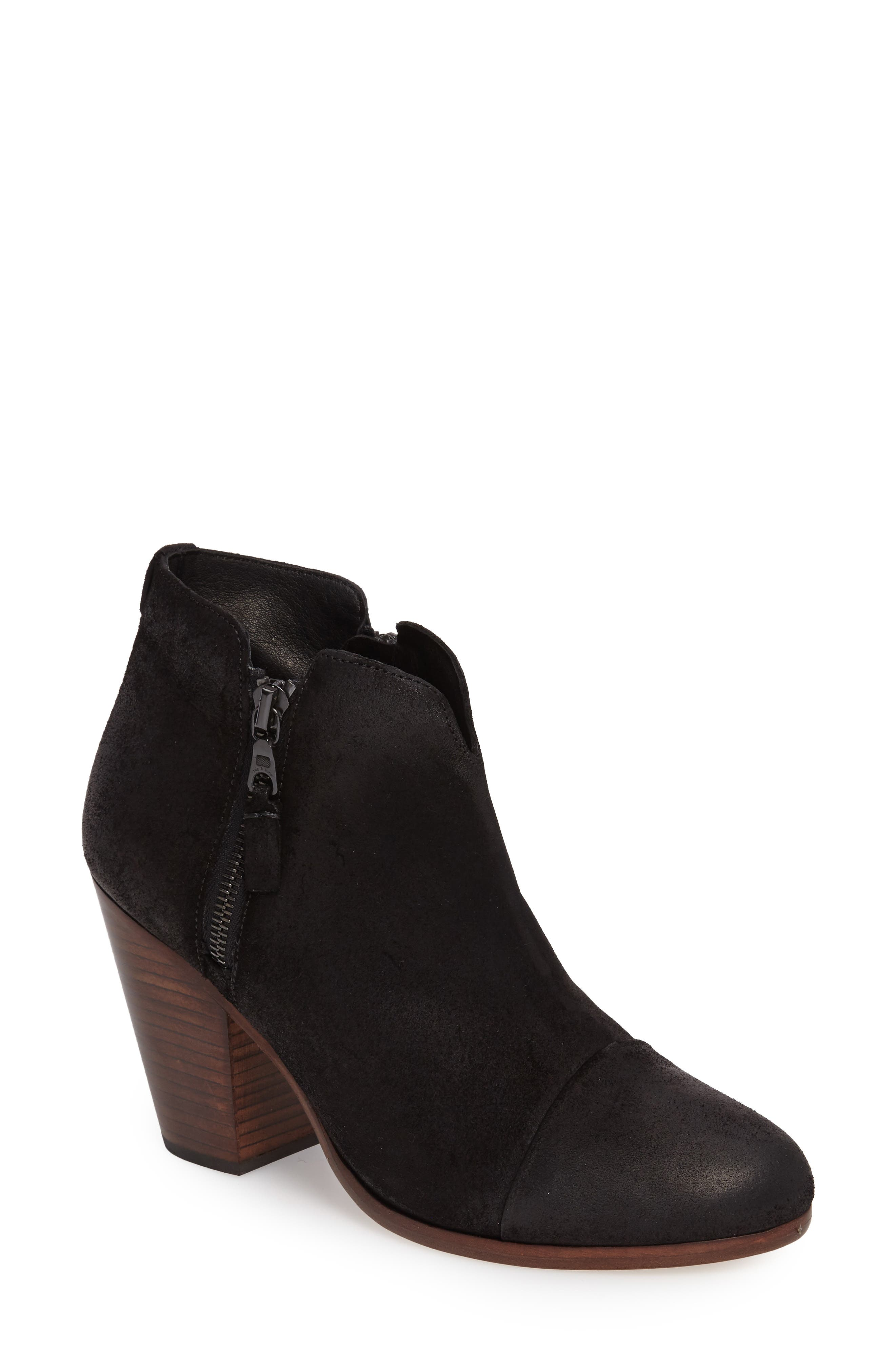 Margot Bootie,                             Main thumbnail 1, color,                             BLACK WAXED SUEDE