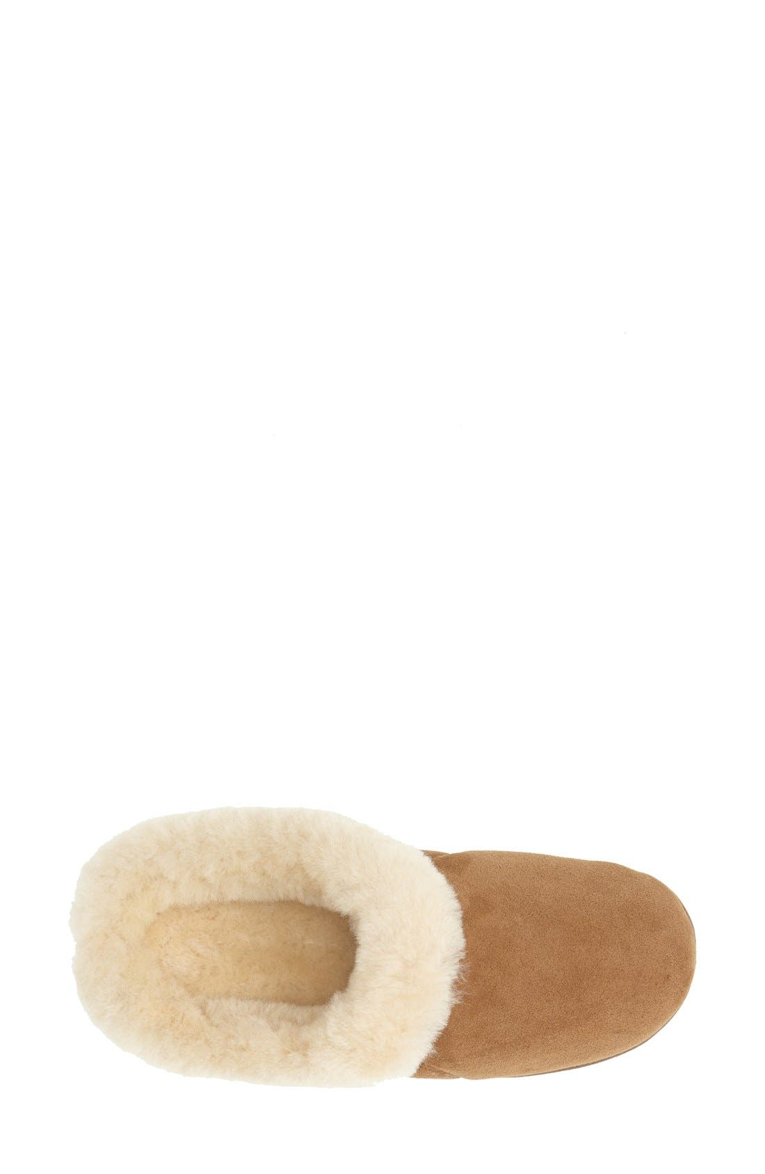 'Ewe Collar' Genuine Sheepskin Mule Slipper,                             Alternate thumbnail 3, color,                             WALNUT