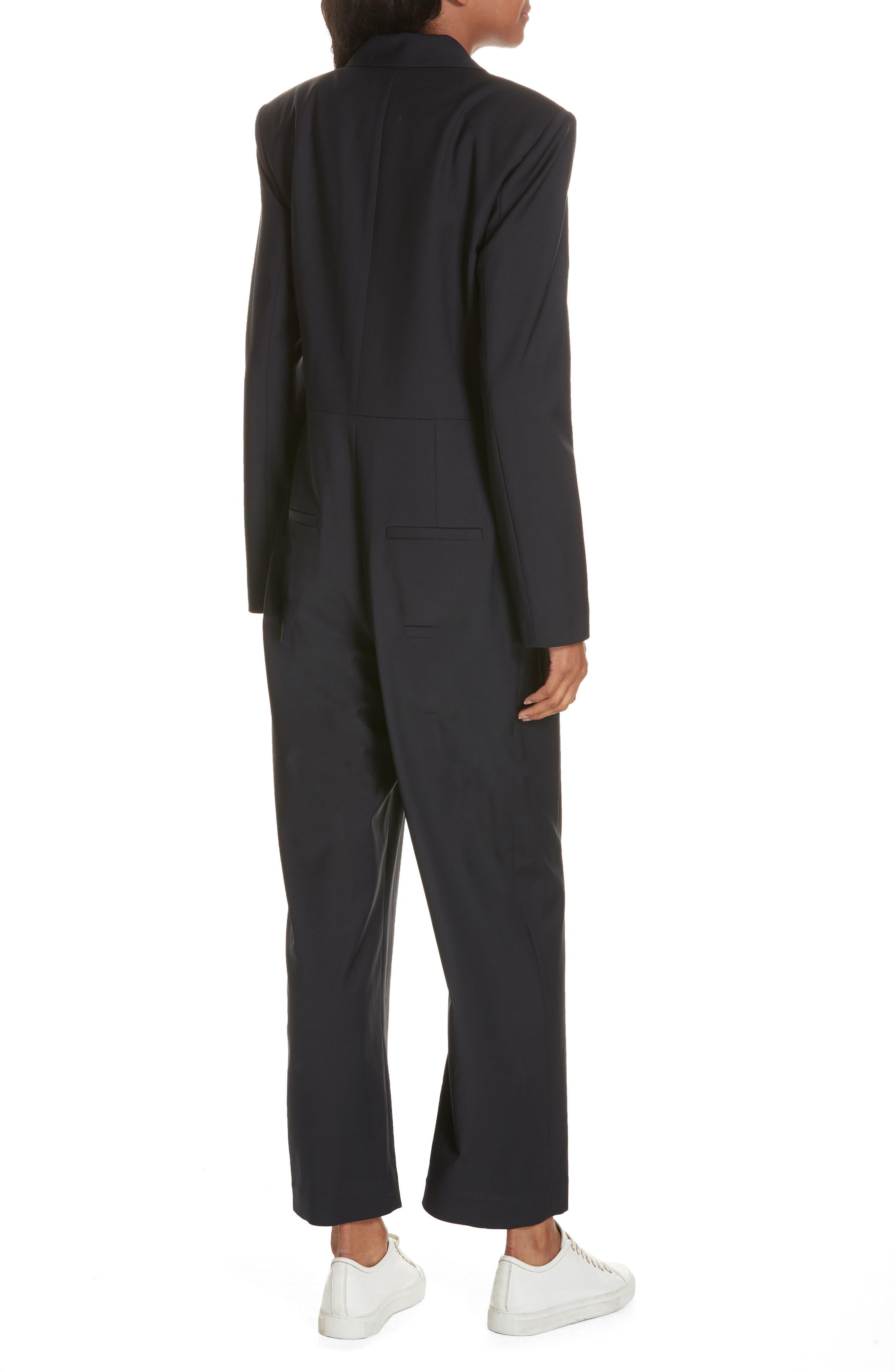 TIBI,                             Plain Weave Blazer Jumpsuit,                             Alternate thumbnail 2, color,                             DARK NAVY