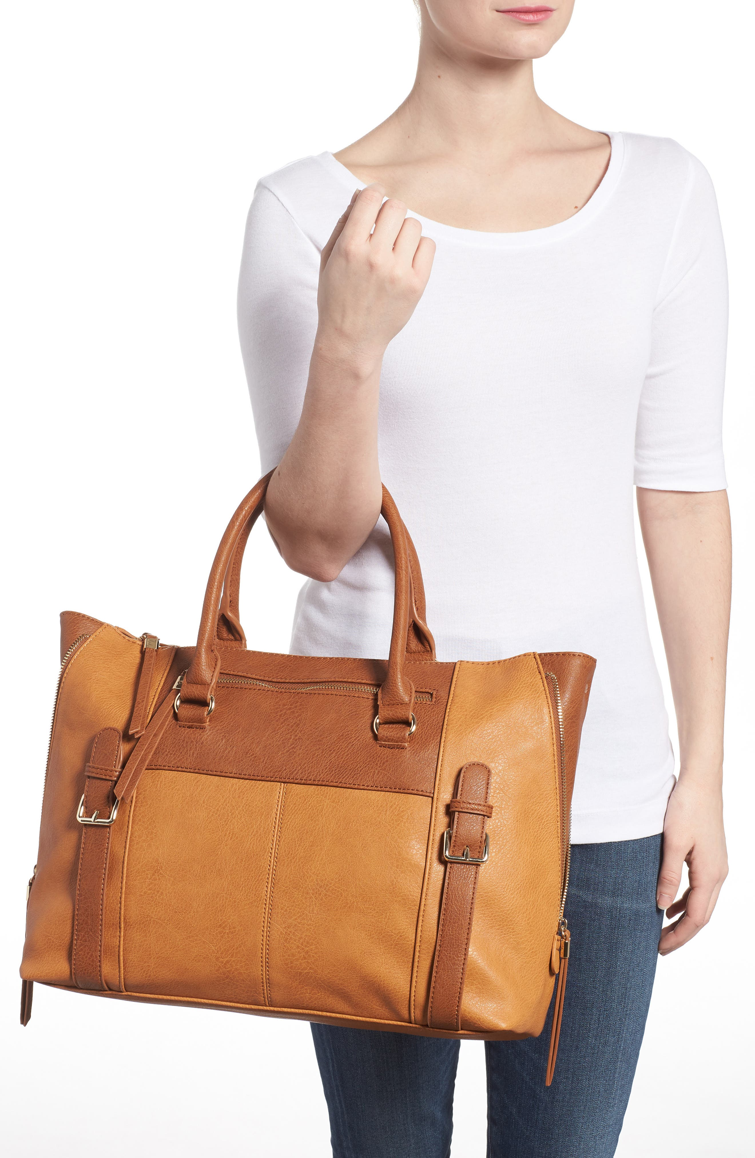 Buckle Faux Leather Tote,                             Alternate thumbnail 2, color,                             234