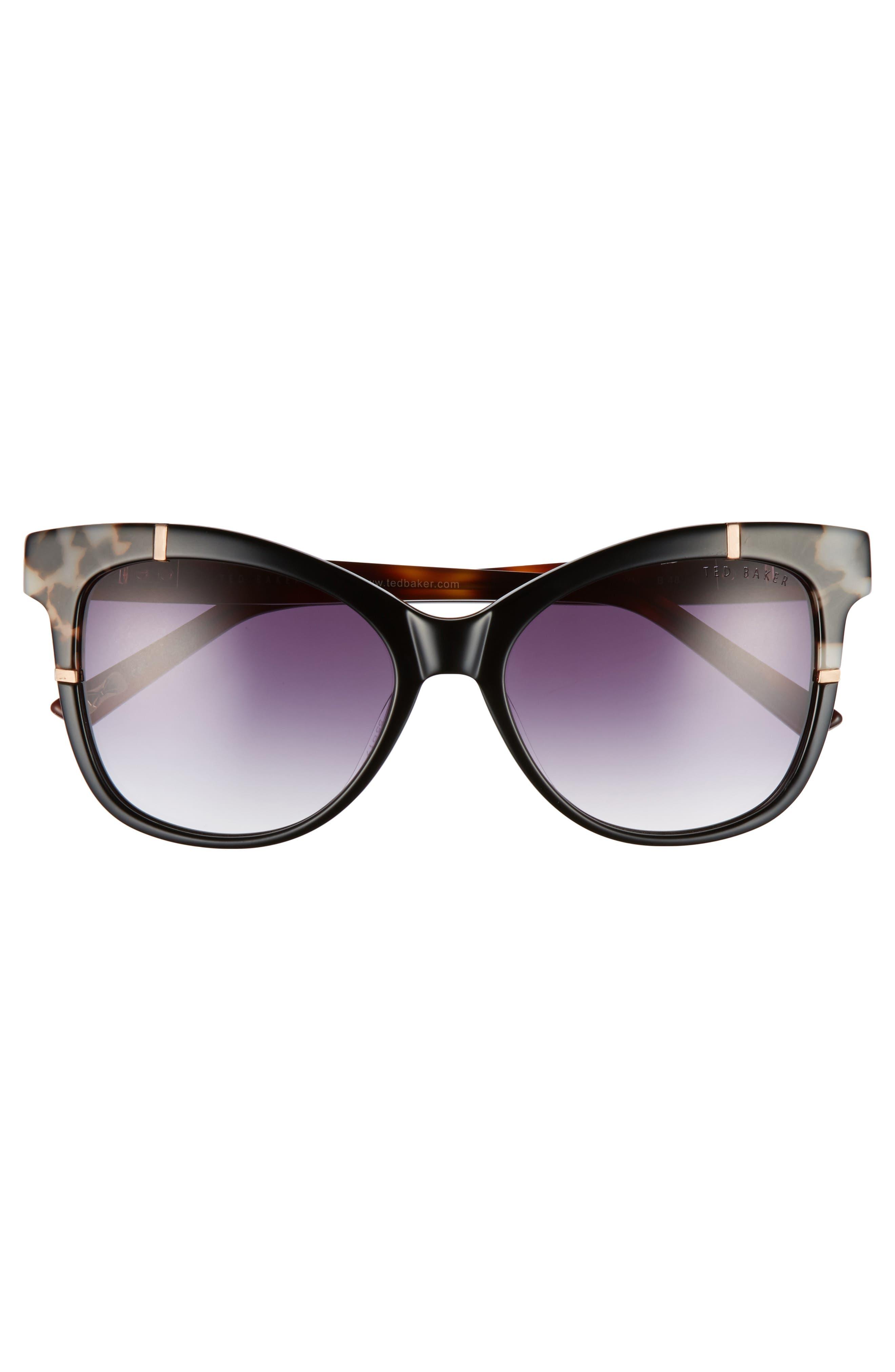 55mm Square Cat Eye Sunglasses,                             Alternate thumbnail 3, color,                             001