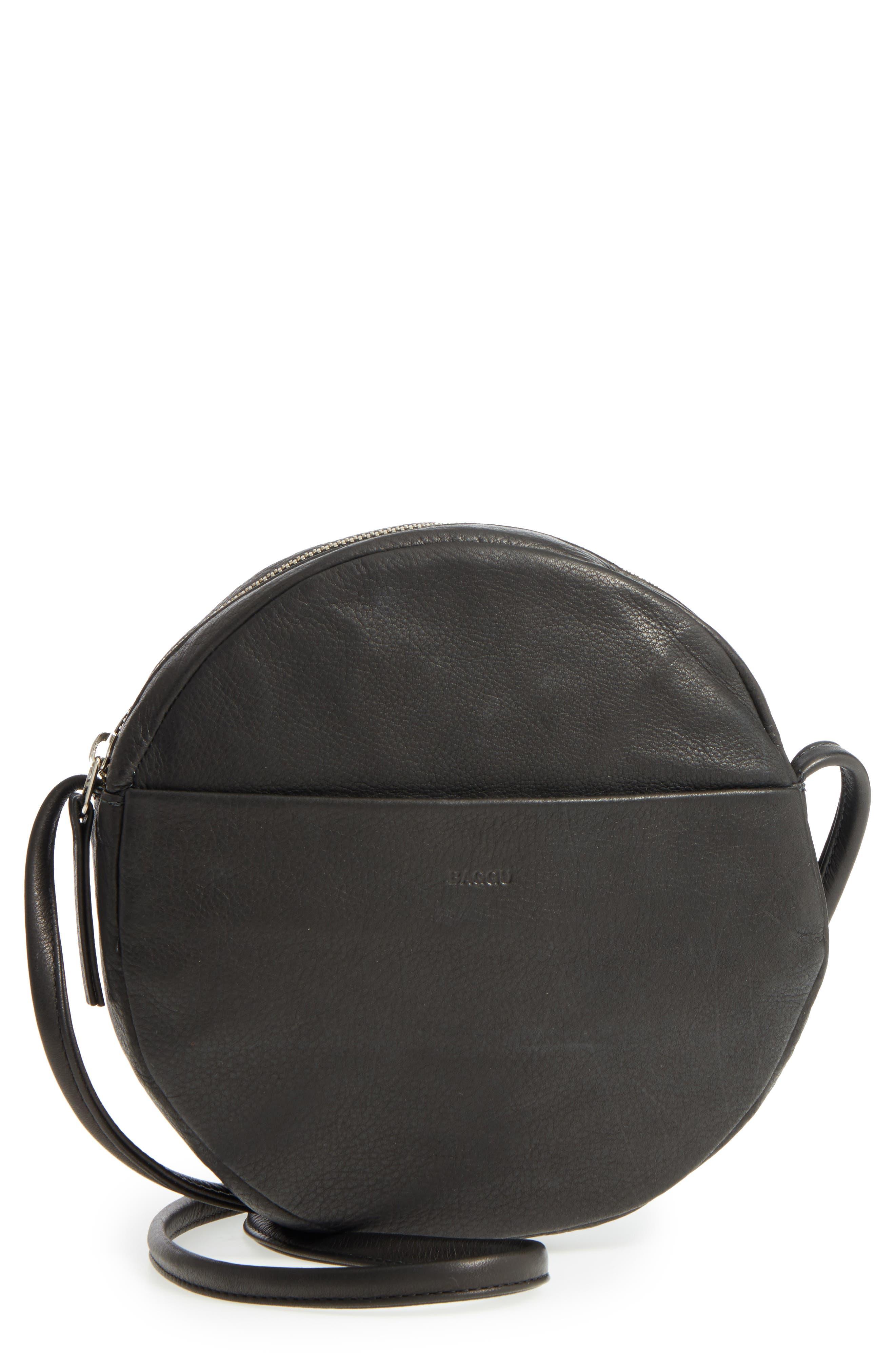 Circle Calfskin Leather Crossbody Bag,                             Main thumbnail 1, color,