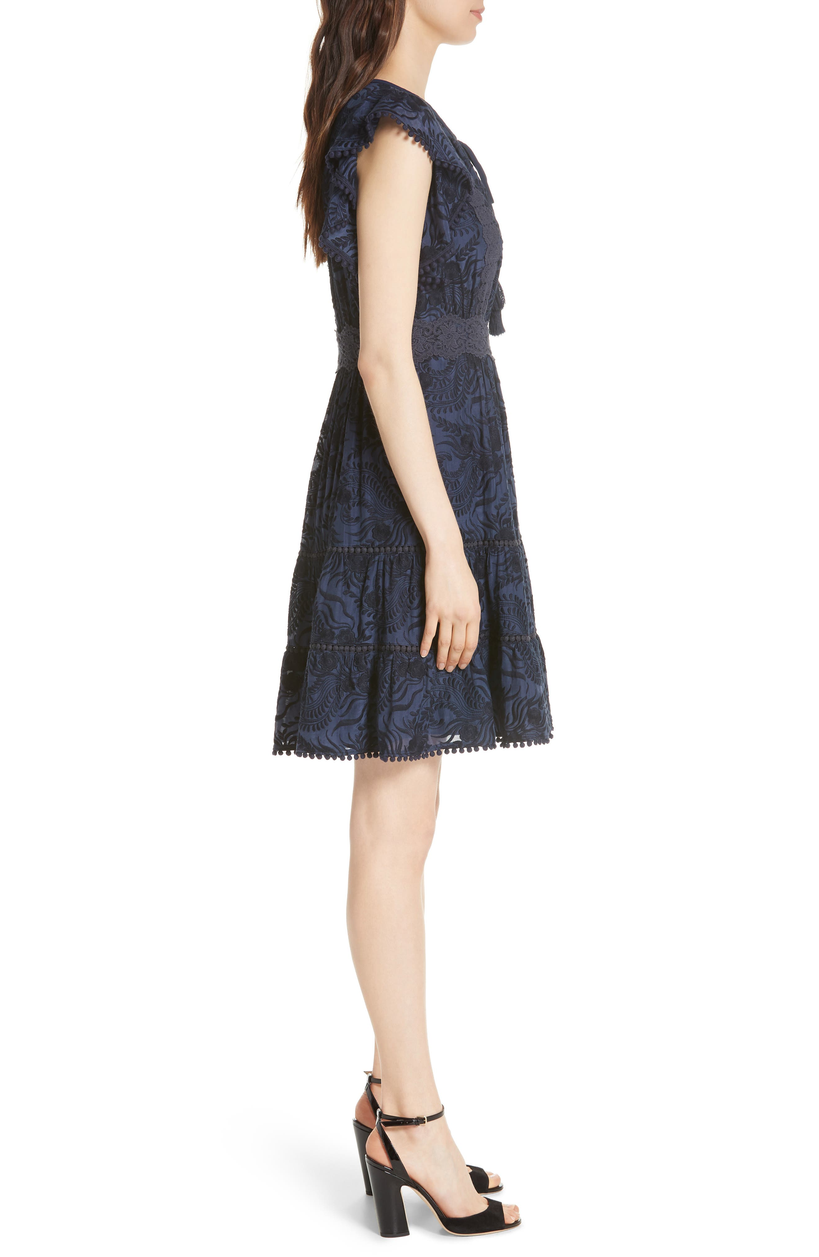 jenette cotton silk fit & flare dress,                             Alternate thumbnail 3, color,