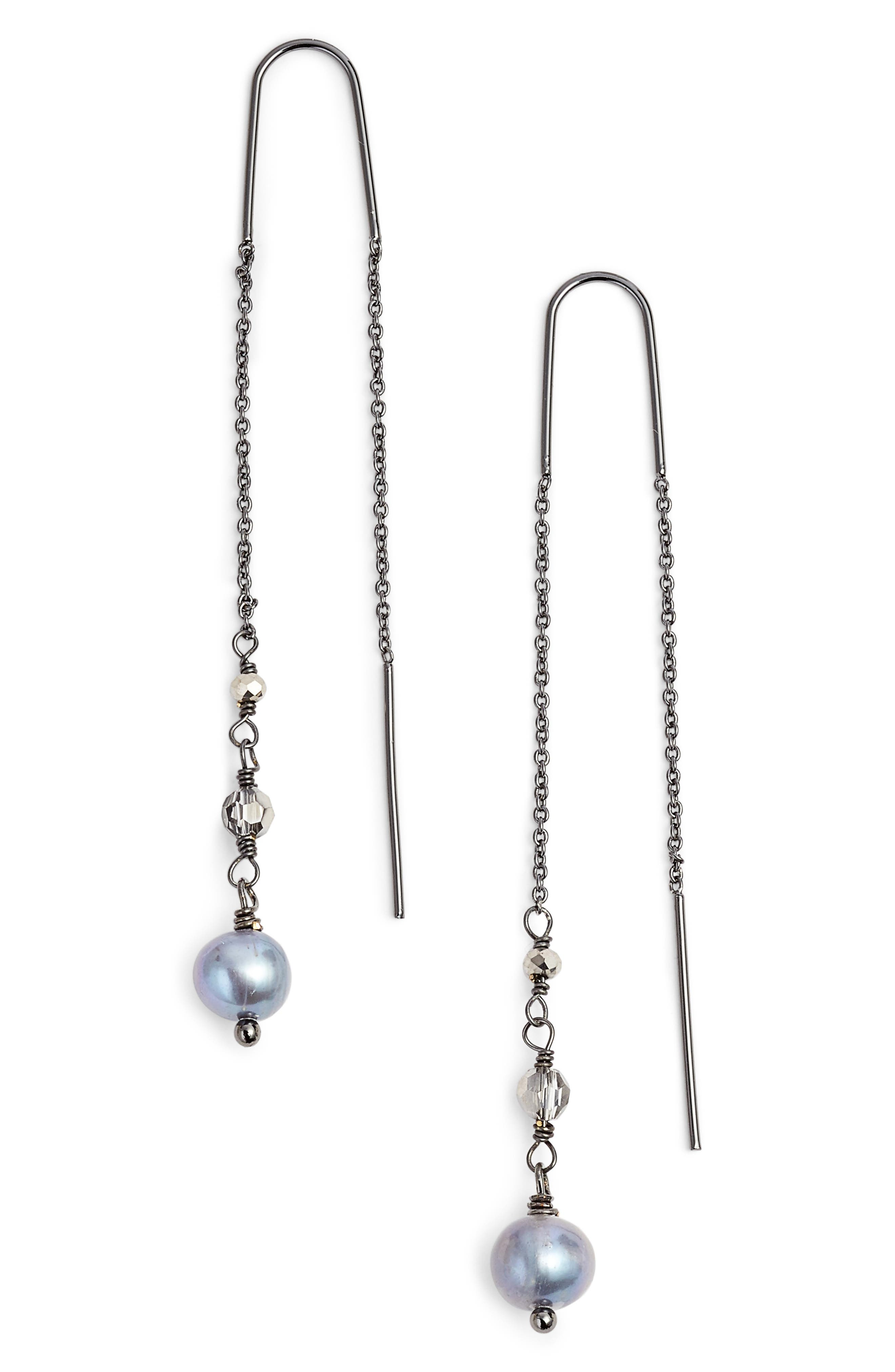 Katie Pearl Threader Earrings,                             Main thumbnail 1, color,                             040
