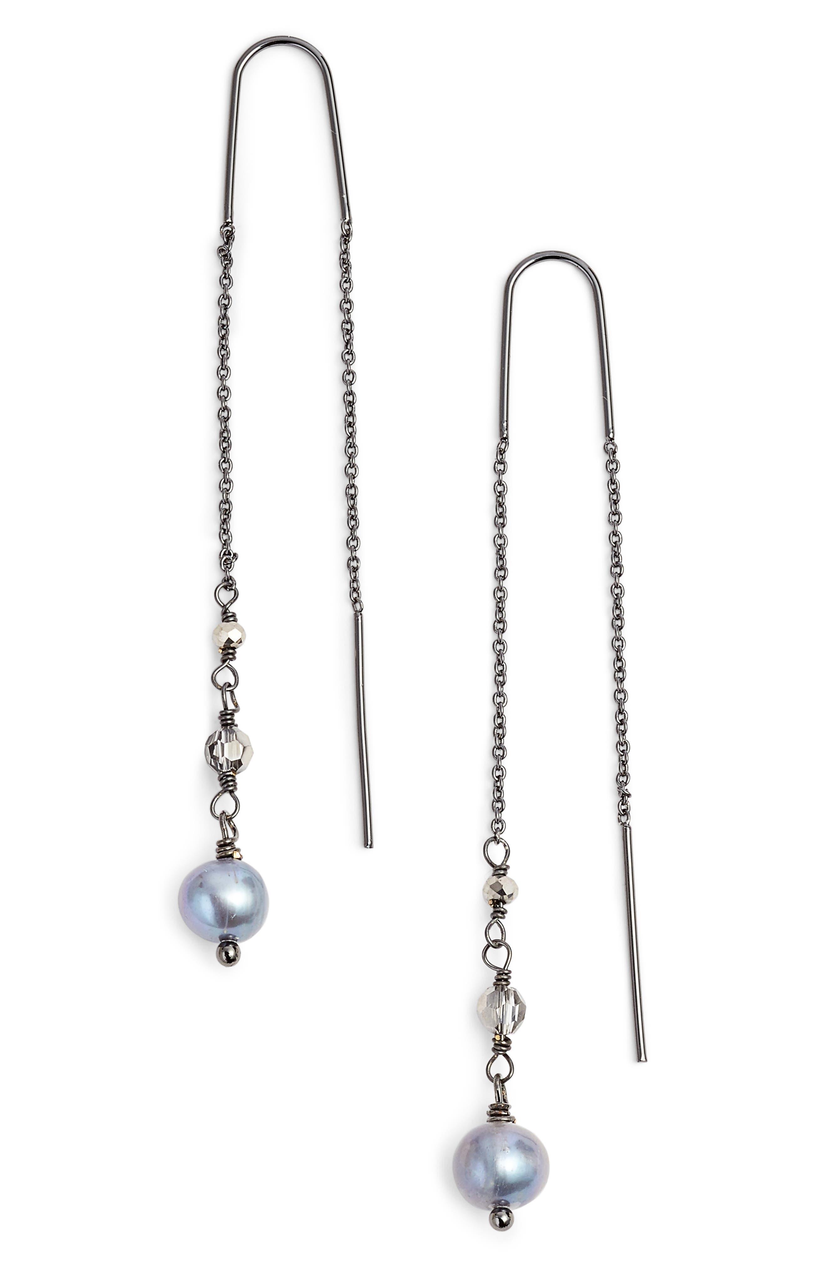 Katie Pearl Threader Earrings,                         Main,                         color, 040