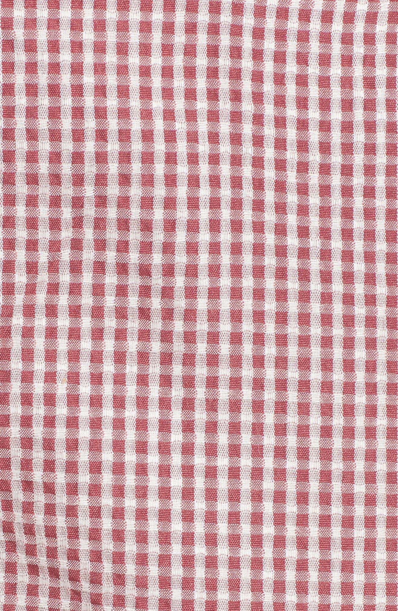 Pisa High Waist Crop Pants,                             Alternate thumbnail 6, color,                             RED GINGHAM