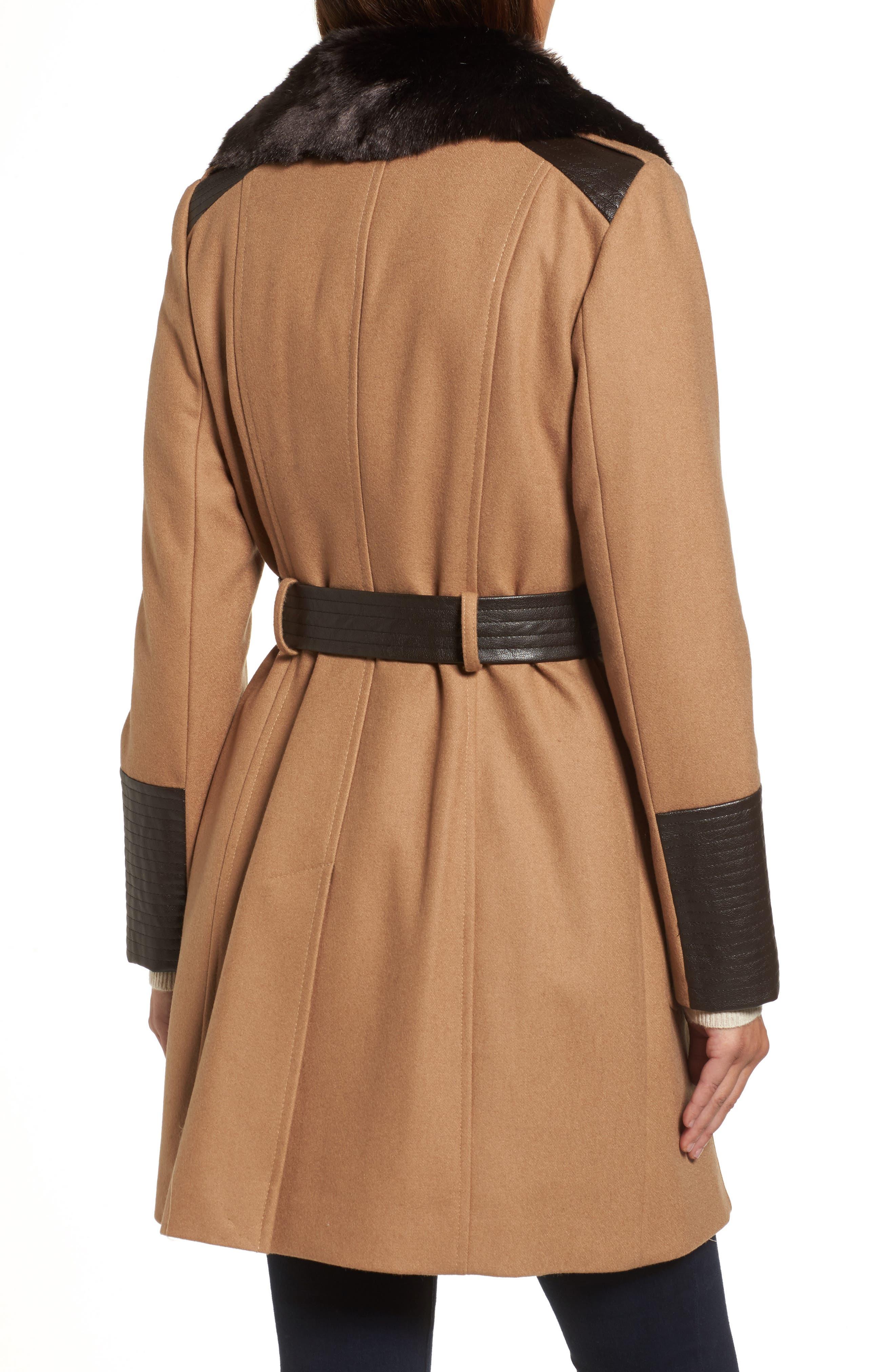 Faux Leather & Faux Fur Trim Belted Wool Blend Coat,                             Alternate thumbnail 10, color,