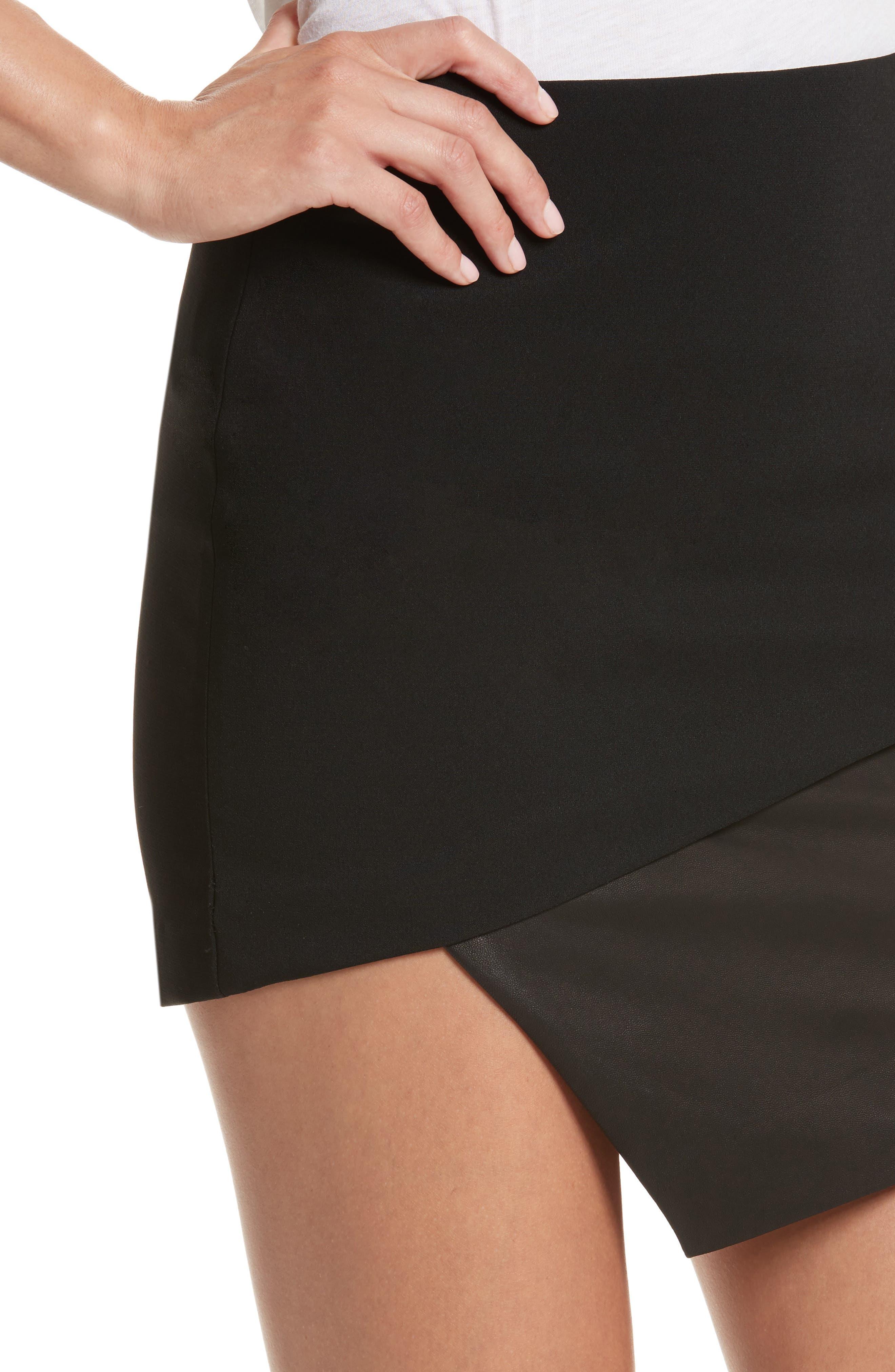 Dora Asymmetrical Miniskirt,                             Alternate thumbnail 4, color,                             001