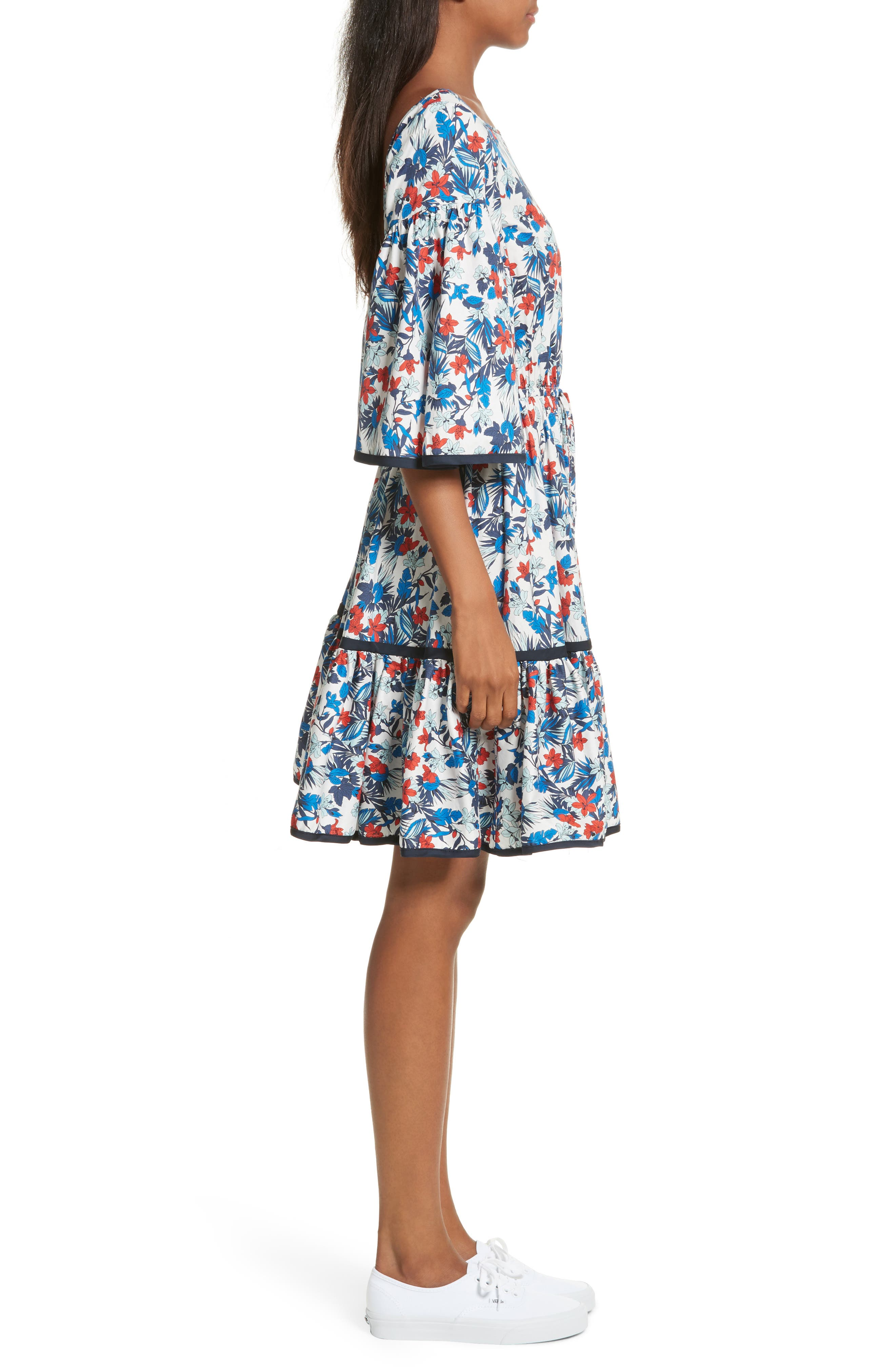 Hibiscus Print Fit & Flare Dress,                             Alternate thumbnail 3, color,                             433