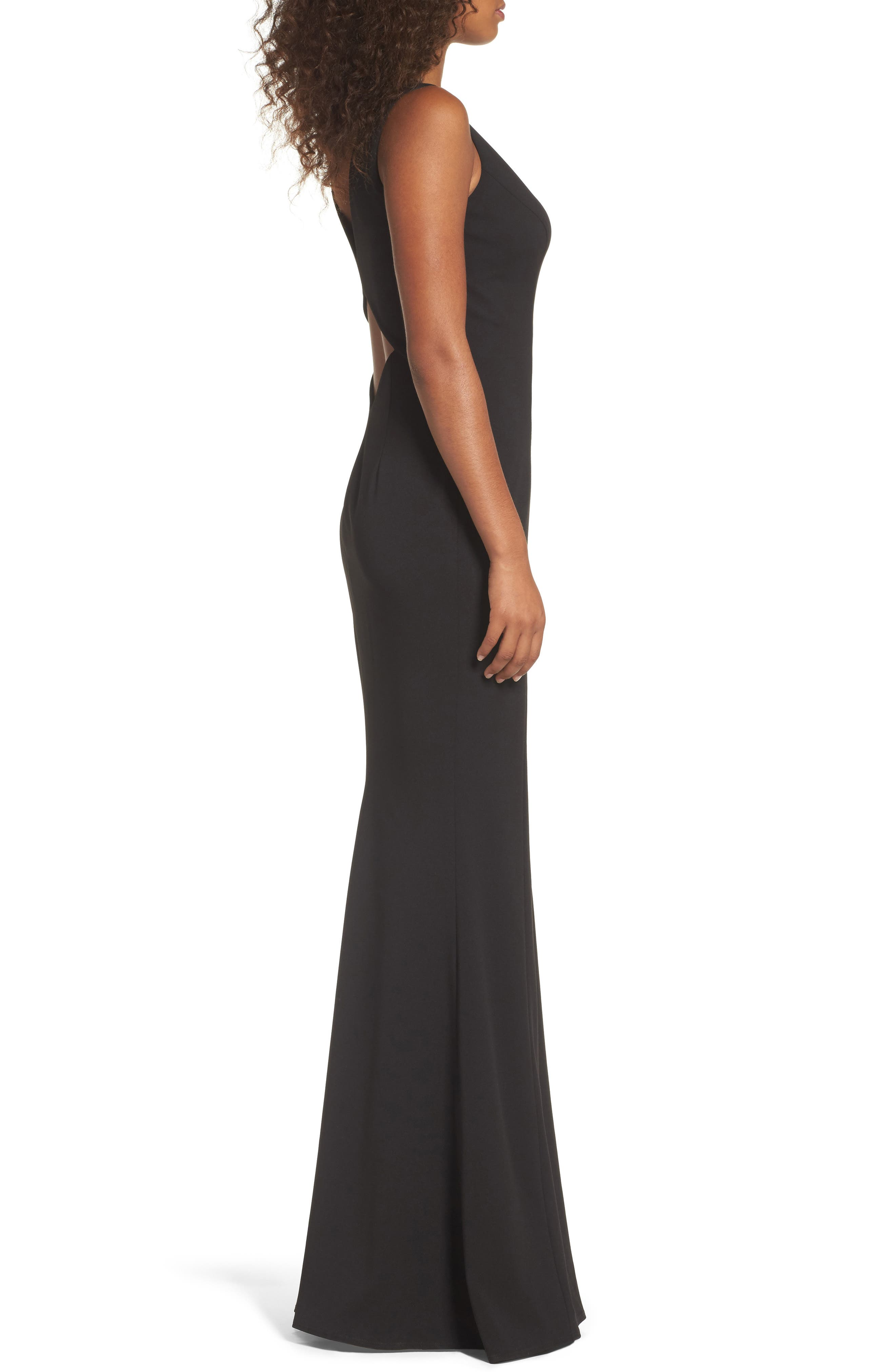 KATIE MAY,                             Mischka V-Neck Crepe Gown,                             Alternate thumbnail 3, color,                             BLACK