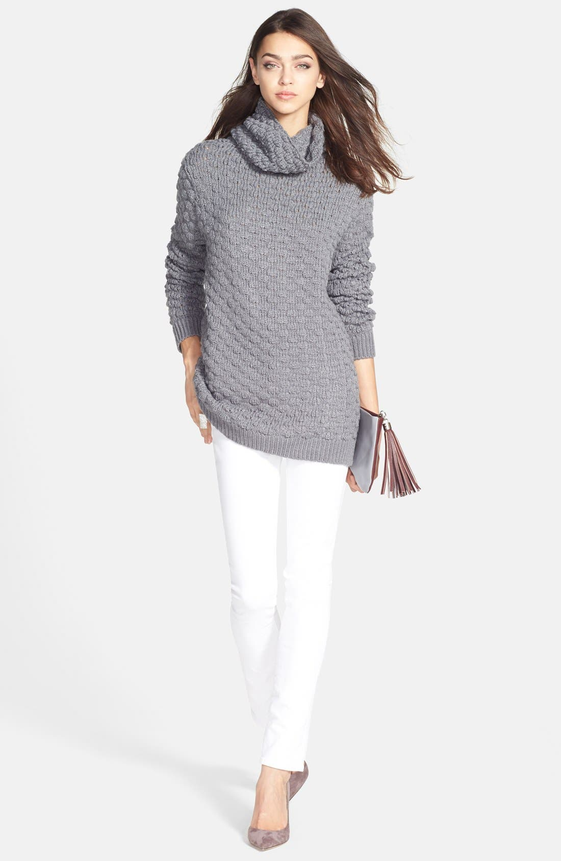 Textured Funnel Neck Sweater,                             Alternate thumbnail 4, color,                             020
