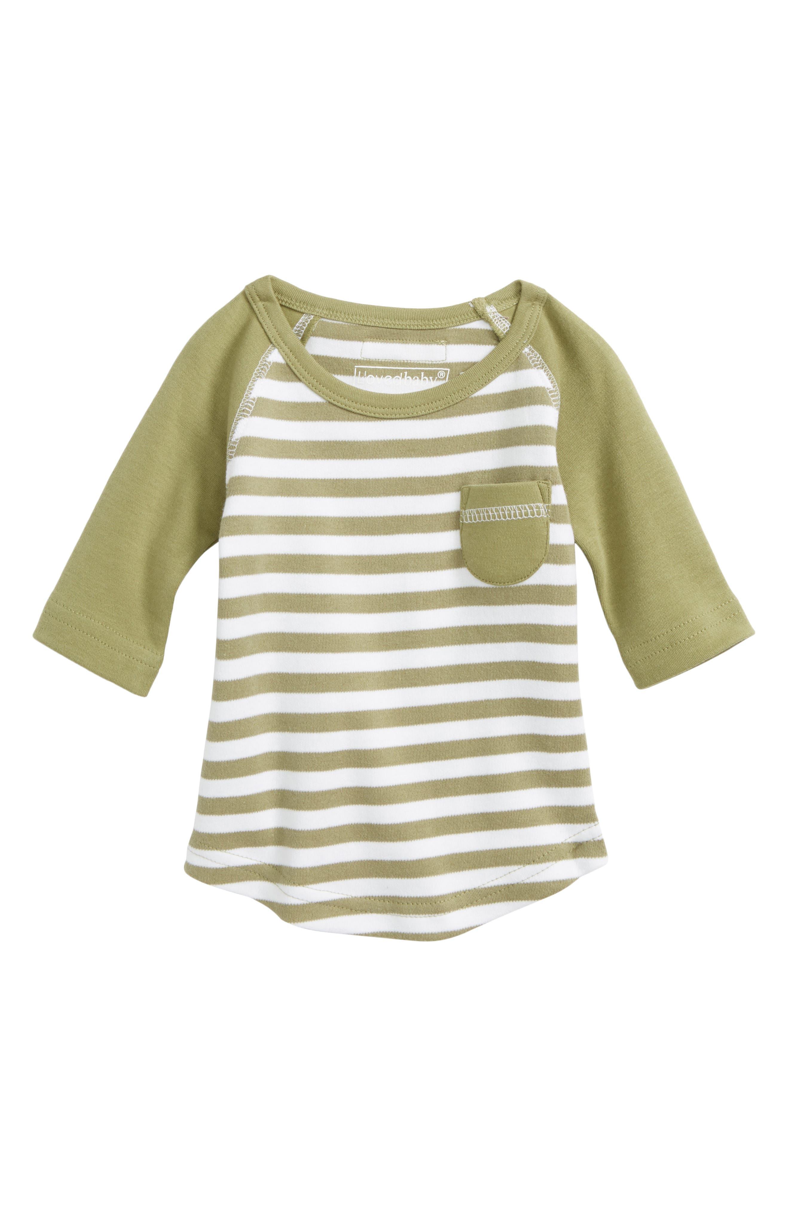 Stripe Organic Cotton Raglan T-Shirt,                             Main thumbnail 1, color,